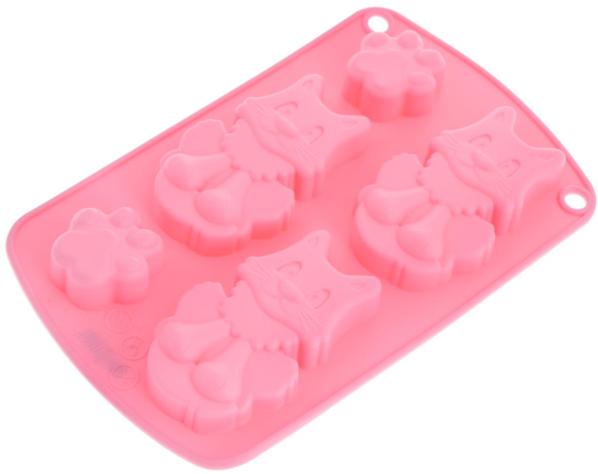 Форма для выпечки и заморозки Regent Inox Котята, цвет: розовый, 5 ячеек93-SI-FO-66Форма Regent Inox Котята, выполненная из силикона, будет отличным выбором для всех любителей домашней выпечки, а также хорошо подойдет для заморозки продуктов и изготовления конфет. Форма имеет 5 ячеек: 2 ячейки в виде лапок кота и 3 ячейки в виде кота. Материал устойчив к фруктовым кислотам, может быть использован в духовках и микроволновых печах (выдерживает температуру от -40°С до 230°С). Порадуйте себя и своих близких качественным и функциональным подарком. Можно мыть в посудомоечной машине. Размер ячейки с котом: 4,5 х 8 х 2 см. Размер ячейки с лапкой: 3 х 4 х 2 см.