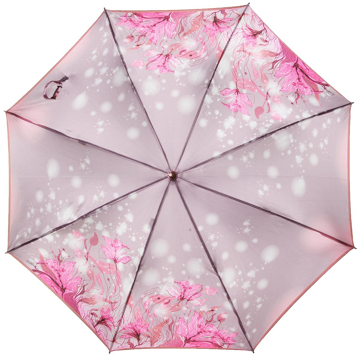 Зонт-трость женский Eleganzza, полуавтомат, 3 сложения, цвет: светло-сиреневый, розовый. T-06-0266T-06-0266Элегантный женский зонт-трость Eleganzza не оставит вас незамеченной. Изделие оформлено оригинальным принтом в виде цветов. Зонт состоит из восьми спиц и стержня, изготовленных из стали и фибергласса. Купол выполнен из качественного полиэстера и сатина, которые не пропускают воду. Зонт дополнен удобной ручкой из акрила, которая имеет форму крючка. Также зонт имеет заостренный наконечник, который устраняет попадание воды на стержень и уберегает зонт от повреждений. Изделие имеет полуавтоматический механизм сложения: купол открывается нажатием кнопки на ручке, а складывается вручную до характерного щелчка. Оригинальный и практичный аксессуар даже в ненастную погоду позволит вам оставаться женственной и привлекательной.