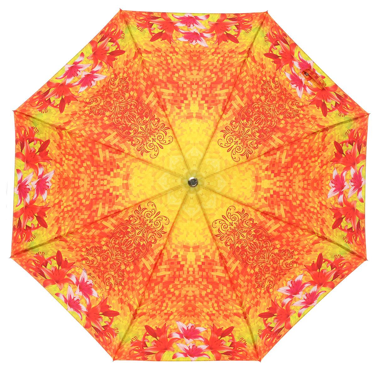 Зонт женский Slava Zaitsev, автомат, 3 сложения, цвет: оранжевый. 053/1053/1 mini SZДизайнерский женский зонт от Славы Зайцева не оставит вас без внимания. Зонт оформлен оригинальной художественной печатью. Купол зонта выполнен из качественного полиэстера, который не позволит вам намокнуть. Спицы и стержень выполнены из алюминия с элементами пластика. Зонт дополнен удобной пластиковой ручкой, которая имеет петлю, благодаря которой зонт можно носить на запястье. На ручке вставка с названием бренда. Зонт имеет автоматический механизм сложения: купол открывается и закрывается нажатием кнопки на ручке, стержень складывается вручную до характерного щелчка, благодаря чему открыть и закрыть зонт можно одной рукой. К зонту прилагается чехол. Стильный и практичный аксессуар даже в ненастную погоду позволит вам оставаться яркой и неотразимой.