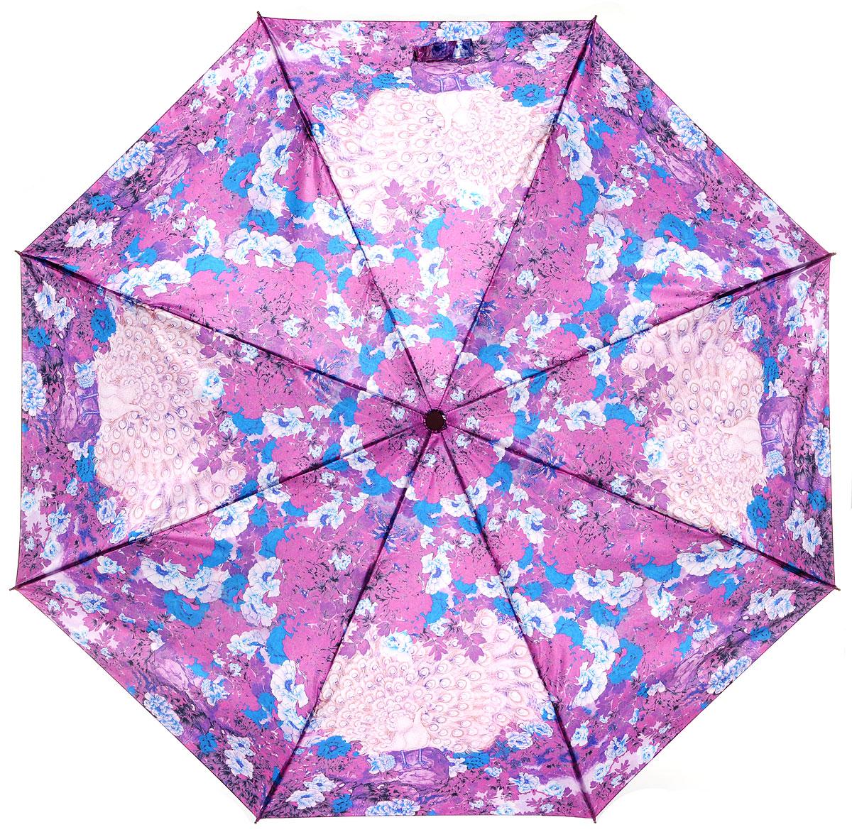 Зонт женский Eleganzza, автомат, 3 сложения, цвет: сиреневый. A3-05-0263LA3-05-0263LСтильный и элегантный зонт Eleganzza не оставит вас незамеченной. Зонт оформлен оригинальным принтом. Зонт состоит из восьми спиц и стержня, изготовленных из стали и фибергласса. Купол выполнен из качественного полиэстера, который не пропускает воду. Зонт дополнен удобной ручкой из пластика. Зонт имеет автоматический механизм сложения: купол открывается и закрывается нажатием кнопки на ручке, стержень складывается вручную до характерного щелчка, благодаря чему открыть и закрыть зонт можно одной рукой. Ручка дополнена петлей, благодаря которой зонт можно носить на запястье. К зонту прилагается чехол. Удобный и практичный аксессуар даже в ненастную погоду позволит вам оставаться женственной и привлекательной.