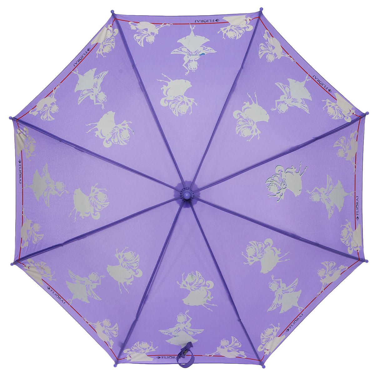 Зонт-трость детский Flioraj, механика, цвет: фиолетовый. 051202051202 FJОригинальный и практичный детский зонт-трость Flioraj будет отличным подарком для вашего ребенка. Зонт состоит из восьми спиц и стержня выполненных из прочного, но легкого фибергласса. Купол выполнен из качественного полиэстера, который не пропускает воду и оформлен красочным рисунком. Зонт дополнен удобной пластиковой ручкой в виде крючка. Изделие имеет механический способ сложения: и купол, и стержень открываются и закрываются вручную до характерного щелчка. Зонт закрывается хлястиком на кнопку. Зонт дополнен свистком. Такой нежный и оригинальный дизайн понравится любой девочке.