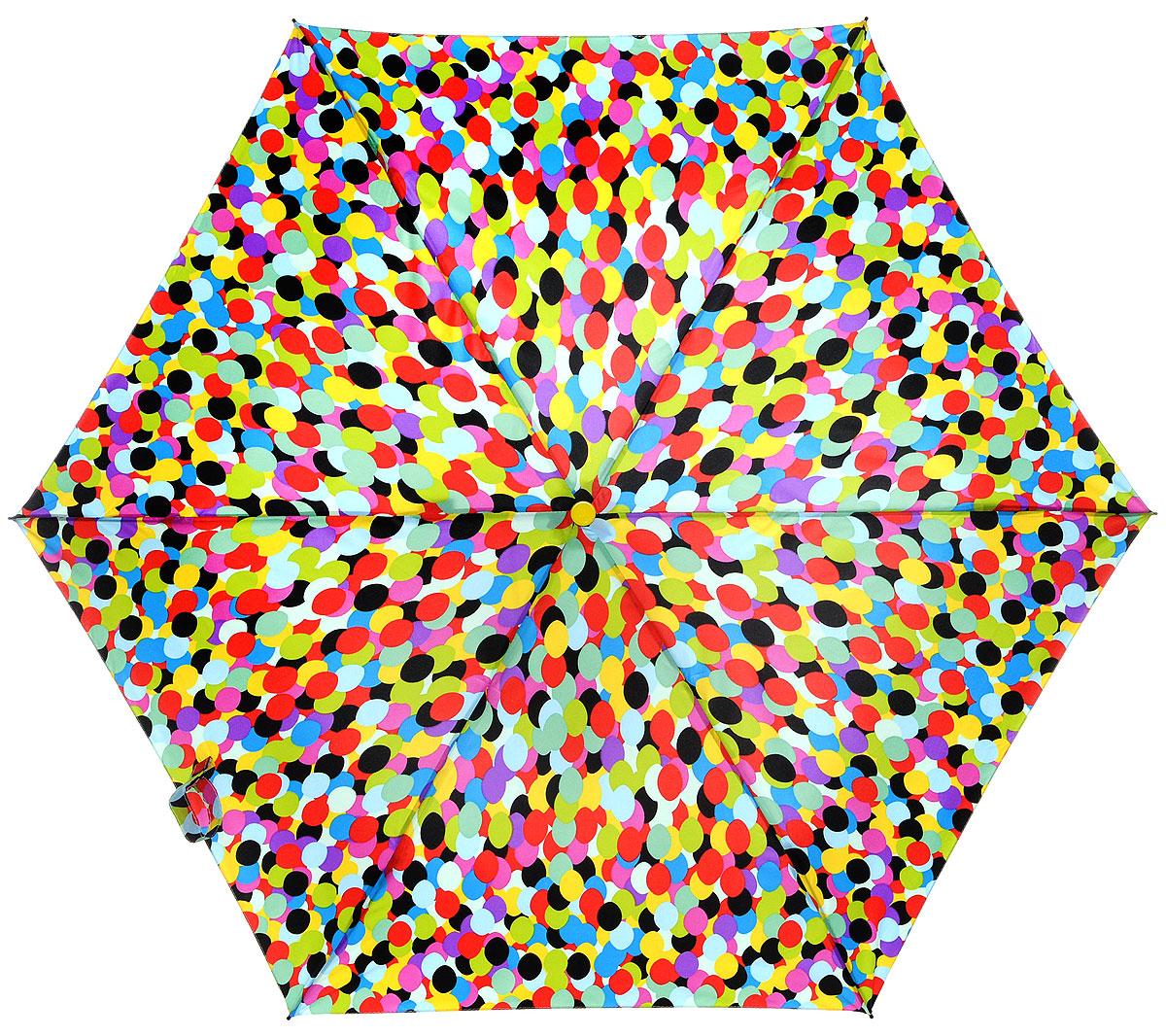 Зонт женский Labbra, автомат, 3 сложения, цвет: мультиколор. A3-05-LR024A3-05-LR024Яркий зонт Labbra не оставит вас незамеченной. Зонт оформлен оригинальным принтом в виде разноцветных кружков. Зонт состоит из шести спиц и стержня, изготовленных из стали, алюминия и фибергласса. Купол выполнен из качественного эпонжа, который не пропускает воду. Зонт дополнен удобной ручкой из пластика. Зонт имеет автоматический механизм сложения: купол открывается и закрывается нажатием кнопки на ручке, стержень складывается вручную до характерного щелчка, благодаря чему открыть и закрыть зонт можно одной рукой. Ручка дополнена петлей, благодаря которой зонт можно носить на запястье . К зонту прилагается чехол. Удобный и практичный аксессуар даже в ненастную погоду позволит вам оставаться стильной и элегантной.