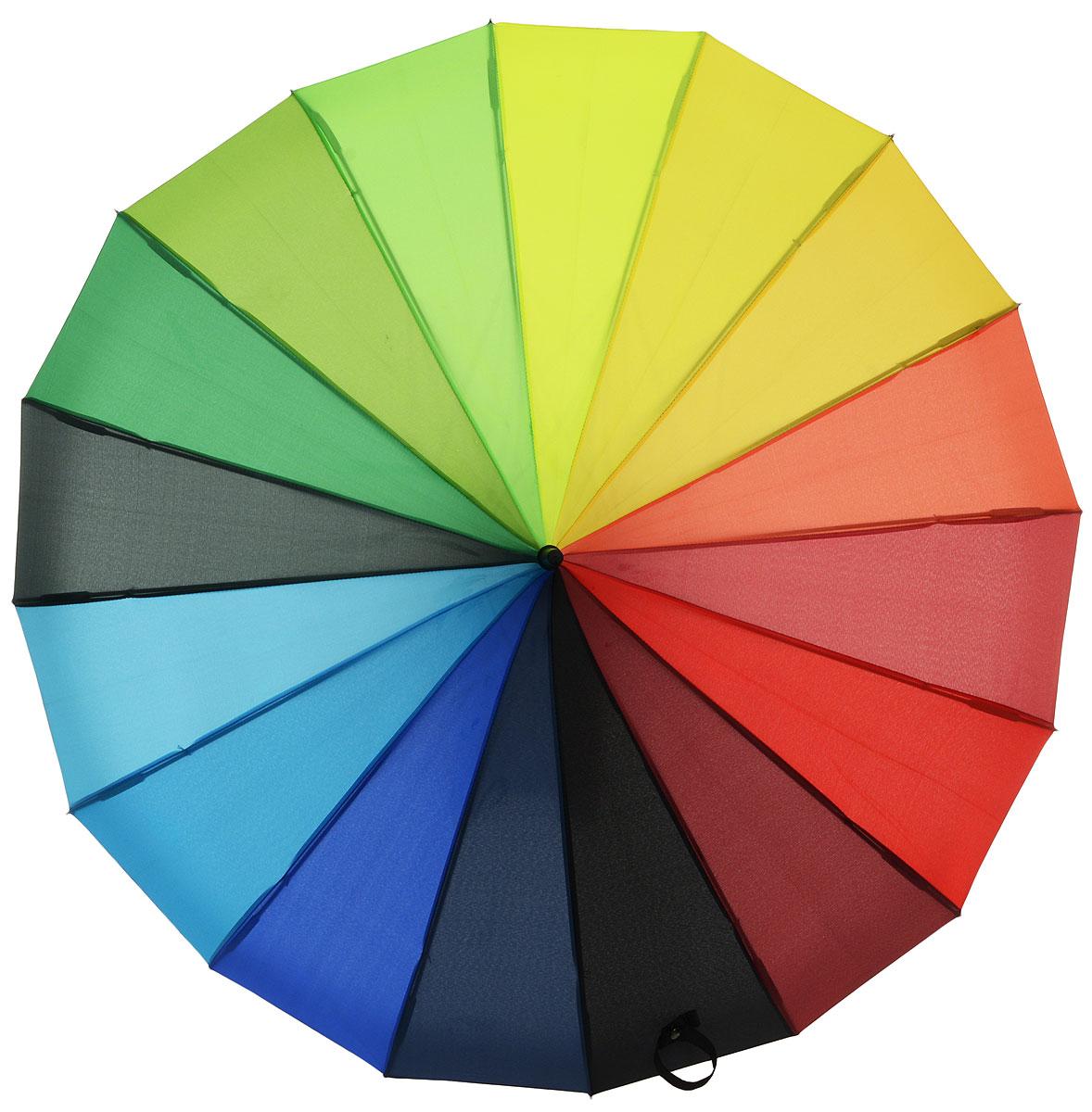 Зонт-трость женский Flioraj Радуга, механика, цвет: мультиколор. 121200-1121200-1 FJЯркий и оригинальный зонт Flioraj не оставит вас без внимания. Зонт состоит из 16 спиц и прочного стержня, изготовленных из анодированной стали. Купол зонта изготовленный из качественного полиэстера, выполнен в необычной форме. Зонт оснащен ручкой из матового пластика. Изделие имеет механический способ сложения: и купол, и стержень открываются и закрываются вручную до характерного щелчка. Зонт закрывается хлястиком на кнопку. Такой зонт не только надежно защитит вас от дождя, но и станет стильным аксессуаром, который идеально подчеркнет ваш неповторимый образ. Такой оригинальный зонт с насыщенными цветами поднимет настроение не только вам, но и окружающим.
