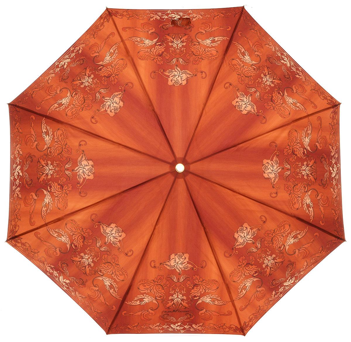 Зонт женский Slava Zaitsev, автомат, 3 сложения, цвет: оранжевый. 054/1054/1 midi SZДизайнерский женский зонт от Славы Зайцева не оставит вас без внимания. Зонт оформлен оригинальным узором. Купол зонта выполнен из качественного полиэстера, который не позволит вам намокнуть. Спицы и стержень выполнены из алюминия с элементами пластика. Зонт дополнен удобной пластиковой ручкой, которая дополнена петлей, благодаря которой зонт можно носить на запястье. Зонт имеет автоматический механизм сложения: купол открывается и закрывается нажатием кнопки на ручке, стержень складывается вручную до характерного щелчка, благодаря чему открыть и закрыть зонт можно одной рукой. К зонту прилагается чехол. Стильный и практичный аксессуар даже в ненастную погоду позволит вам оставаться яркой и неотразимой.