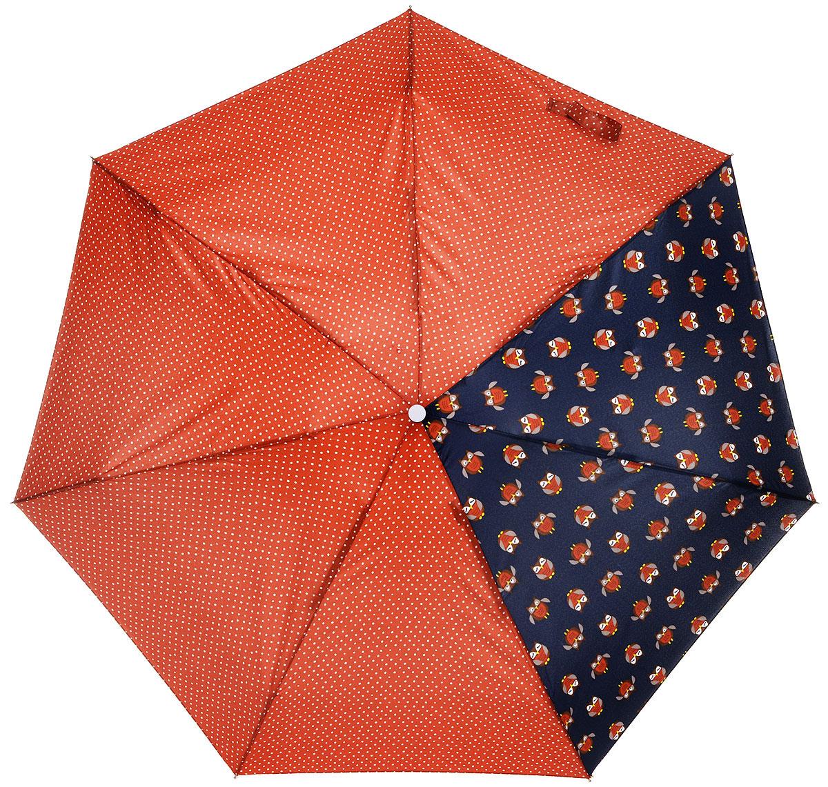 Зонт женский Labbra, механика, 5 сложений, цвет: кирпичный, синий. M5-05-037M5-05-037Яркий зонт Labbra не оставит вас незамеченной. Зонт оформлен принтом в горох и рисунками сов. Стержень изделия изготовлен из алюминия. Зонт состоит из семи спиц, изготовленных из фибергласса и алюминия, дополнен ручкой из пластика. Купол выполнен из качественного полиэстера, который не пропускает воду. Зонт имеет механический способ сложения: и купол, и стержень открываются вручную до характерного щелчка. Ручка дополнена петлей, благодаря которой зонт можно носить на запястье. К зонту прилагается чехол. Практичный аксессуар даже в ненастную погоду позволит вам оставаться стильной и элегантной.