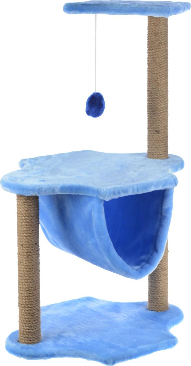 Игровой комплекс для кошек ЗооМарк, 3-ярусный, цвет: голубой, бежевый, 60 х 50 х 100 см129_голубойИгровой комплекс для кошек ЗооМарк выполнен из высококачественного дерева и обтянут искусственным мехом. Изделие предназначено для кошек. Комплекс имеет 3 яруса. Ваш домашний питомец будет с удовольствием точить когти о специальные столбики, изготовленные из джута. А отдохнуть он сможет либо на полках, либо в гамаке, расположенном на нижнем ярусе. На одной из полок расположена игрушка, которая еще сильнее привлечет внимание питомца. Общий размер: 60 х 50 х 100 см. Размер основания и средней полки: 60 х 45 см. Размер верхней полки: 50 х 34 см.