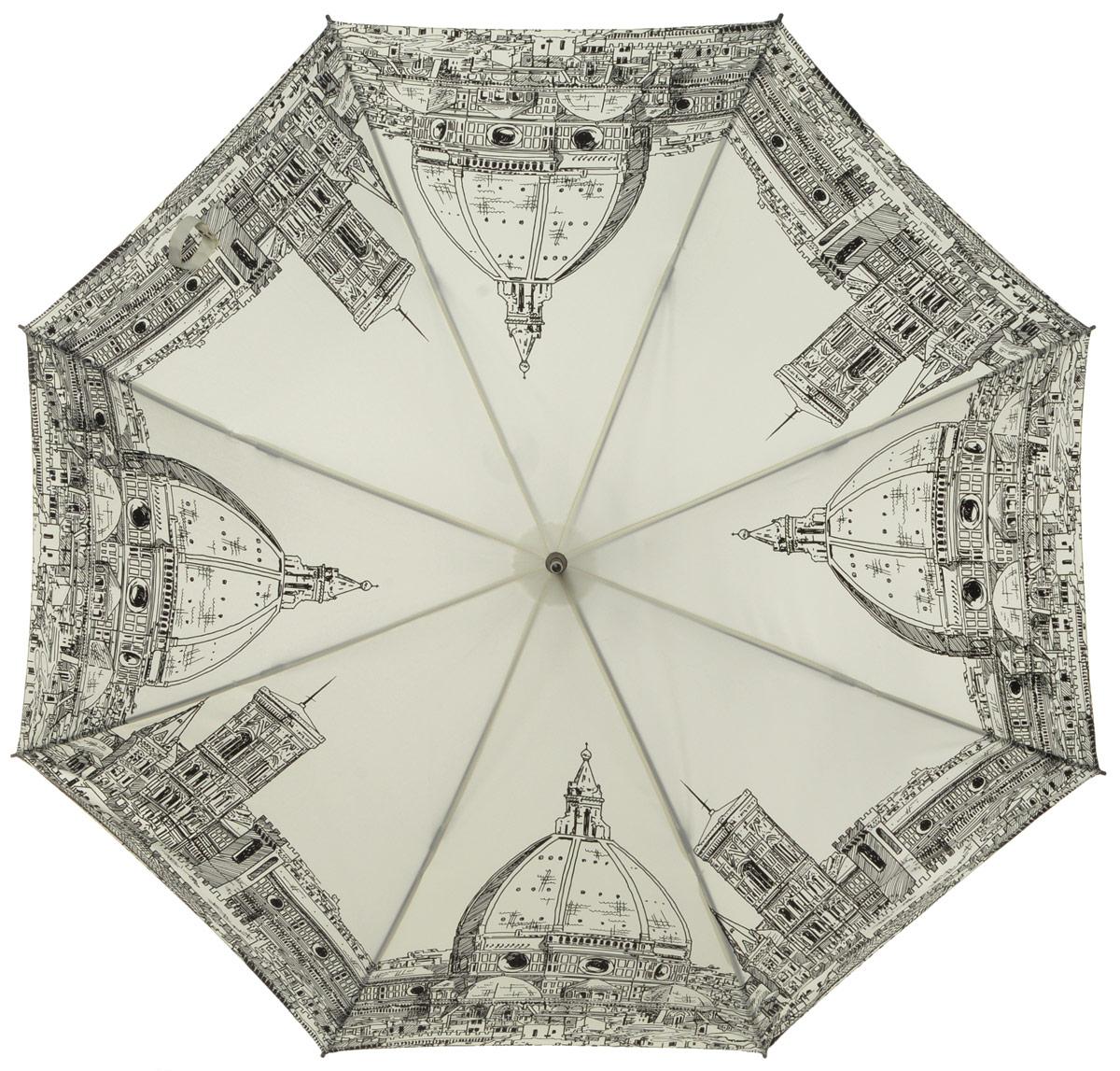 Зонт-трость женский Eleganzza, полуавтомат, 3 сложения, цвет: молочный, черный. T-05-0248T-05-0248Элегантный женский зонт-трость Eleganzza не оставит вас незамеченной. Изделие оформлено оригинальным принтом. Зонт состоит из восьми спиц изготовленных из фибергласса и стержня из стали. Купол выполнен из качественного полиэстера и эпонжа, которые не пропускают воду. Зонт дополнен удобной ручкой из матового пластика, которая имеет форму крючка. Также зонт имеет заостренный наконечник, который устраняет попадание воды на стержень и уберегает зонт от повреждений. Зонт оснащен удобным ремешком, благодаря которому зонт можно носить на плече. Изделие имеет полуавтоматический механизм сложения: купол открывается нажатием кнопки на ручке, а складывается вручную до характерного щелчка. Оригинальный и практичный аксессуар даже в ненастную погоду позволит вам оставаться женственной и привлекательной.