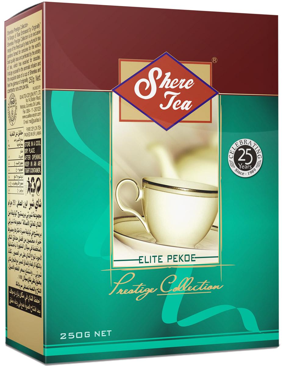 Shere Tea Престижная коллекция Pekoe чай черный листовой, 250 г4791014000327Это эксклюзивная коллекция чая Шери для знатоков. Престижная коллекция - это эксклюзивные сорта лучшего 100% цейлонского чая, выращенного в гористой местности на золотых плантациях, знаменитых более столетия. Вы получите наслаждение от аромата и особенного вкуса в каждой чашке чая Шери и прикоснетесь к очарованию его новизны.