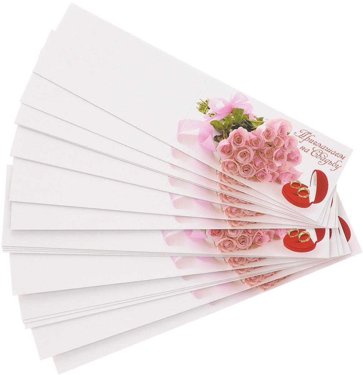 Набор приглашений на свадьбу Принт Торг Букет розовых роз, 20 шт18.021Набор Принт Торг Букет розовых роз состоит из 20 приглашений на свадьбу, выполненных из картона. На развороте изделия содержится текст, в который вы можете вписывать свои данные. С набором Принт Торг Букет розовых роз вы оригинально пригласите всех своих друзей и родственников на ваш праздник. Комплектация: 20 шт. Размер приглашения (в сложенном виде): 12,5 х 6,5 см.