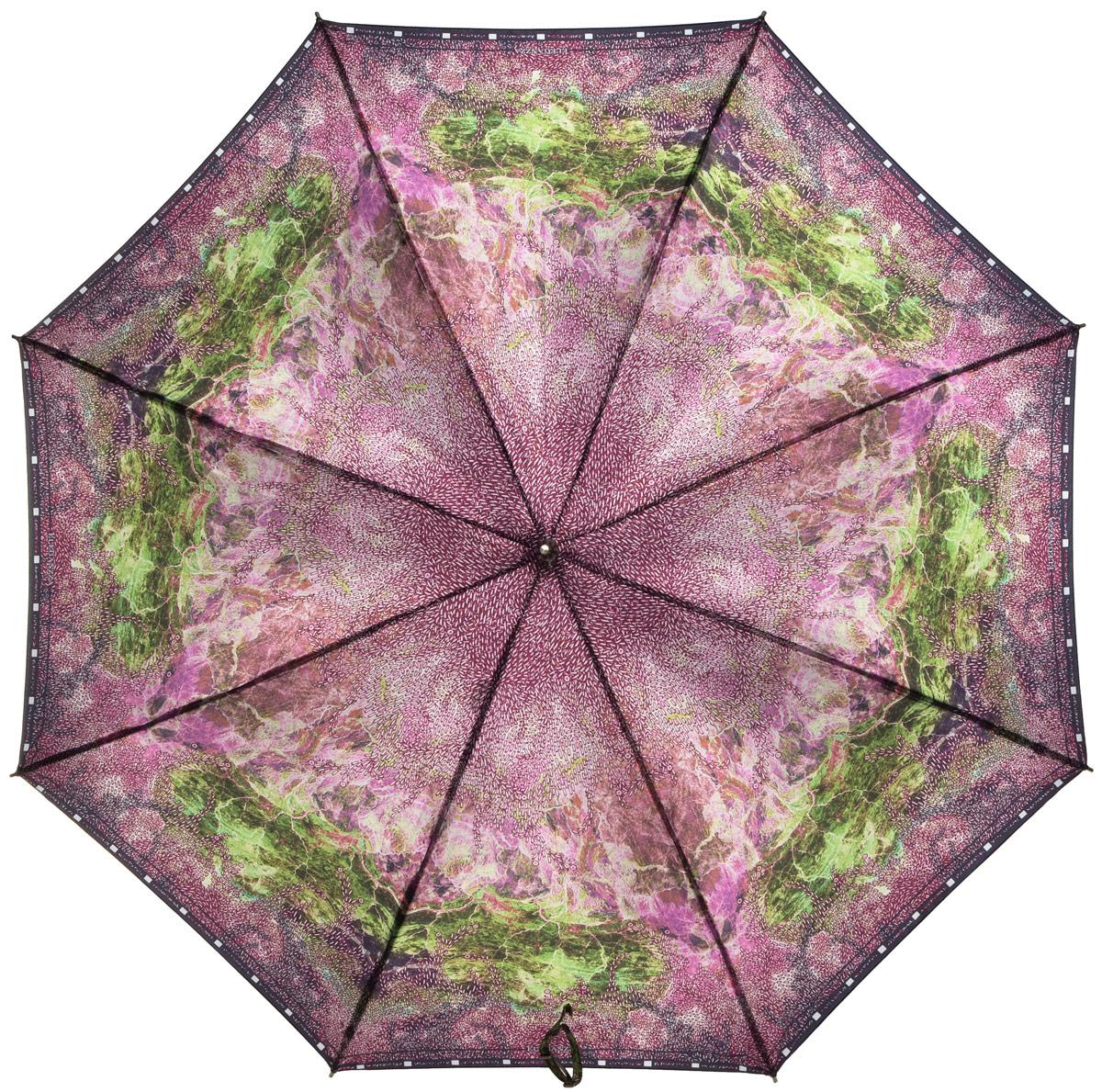 Зонт-трость женский Eleganzza, полуавтомат, 3 сложения, цвет: сиреневый. T-06-0251T-06-0251Элегантный женский зонт-трость Eleganzza не оставит вас незамеченной. Изделие оформлено оригинальным принтом. Зонт состоит из восьми спиц и стержня, изготовленных из стали и фибергласса. Купол выполнен из качественного полиэстера и сатина, которые не пропускают воду. Зонт дополнен удобной ручкой из акрила, которая имеет форму крючка. Также зонт имеет заостренный наконечник, который устраняет попадание воды на стержень и уберегает зонт от повреждений. Изделие имеет полуавтоматический механизм сложения: купол открывается нажатием кнопки на ручке, а складывается вручную до характерного щелчка. Оригинальный и практичный аксессуар даже в ненастную погоду позволит вам оставаться женственной и привлекательной.