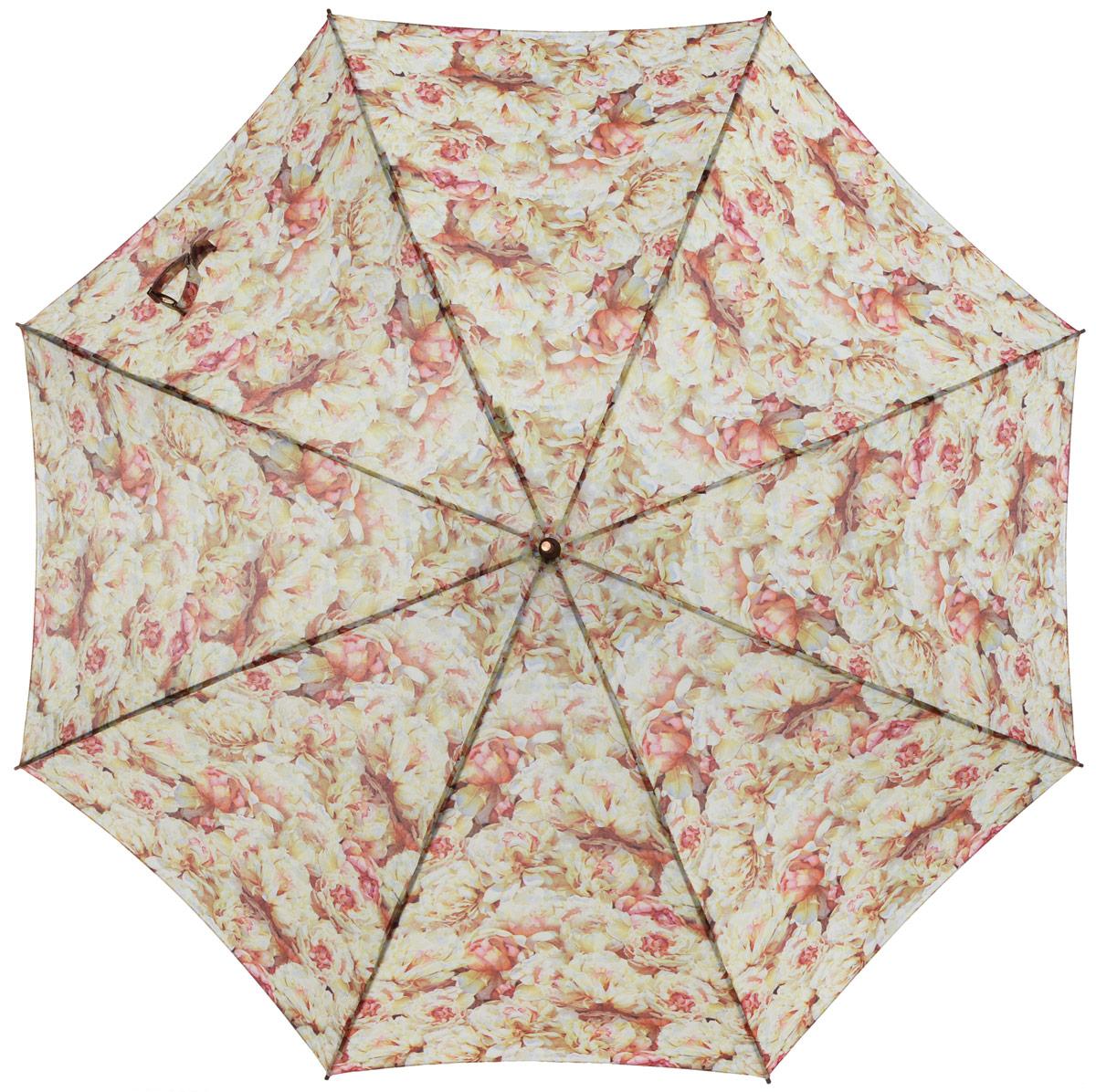 Зонт-трость женский Eleganzza, полуавтомат, 3 сложения, цвет: бежевый, розовый. T-06-0217T-06-0217Элегантный женский зонт-трость Eleganzza не оставит вас незамеченной. Изделие оформлено оригинальным принтом в виде цветов. Зонт состоит из восьми спиц и стержня, изготовленных из стали и фибергласса. Купол выполнен из качественного полиэстера и эпонжа, которые не пропускают воду. Зонт дополнен удобной ручкой из акрила, которая имеет форму крючка. Также зонт имеет заостренный наконечник, который устраняет попадание воды на стержень и уберегает зонт от повреждений. Изделие имеет полуавтоматический механизм сложения: купол открывается нажатием кнопки на ручке, а складывается вручную до характерного щелчка. Оригинальный и практичный аксессуар даже в ненастную погоду позволит вам оставаться женственной и привлекательной.