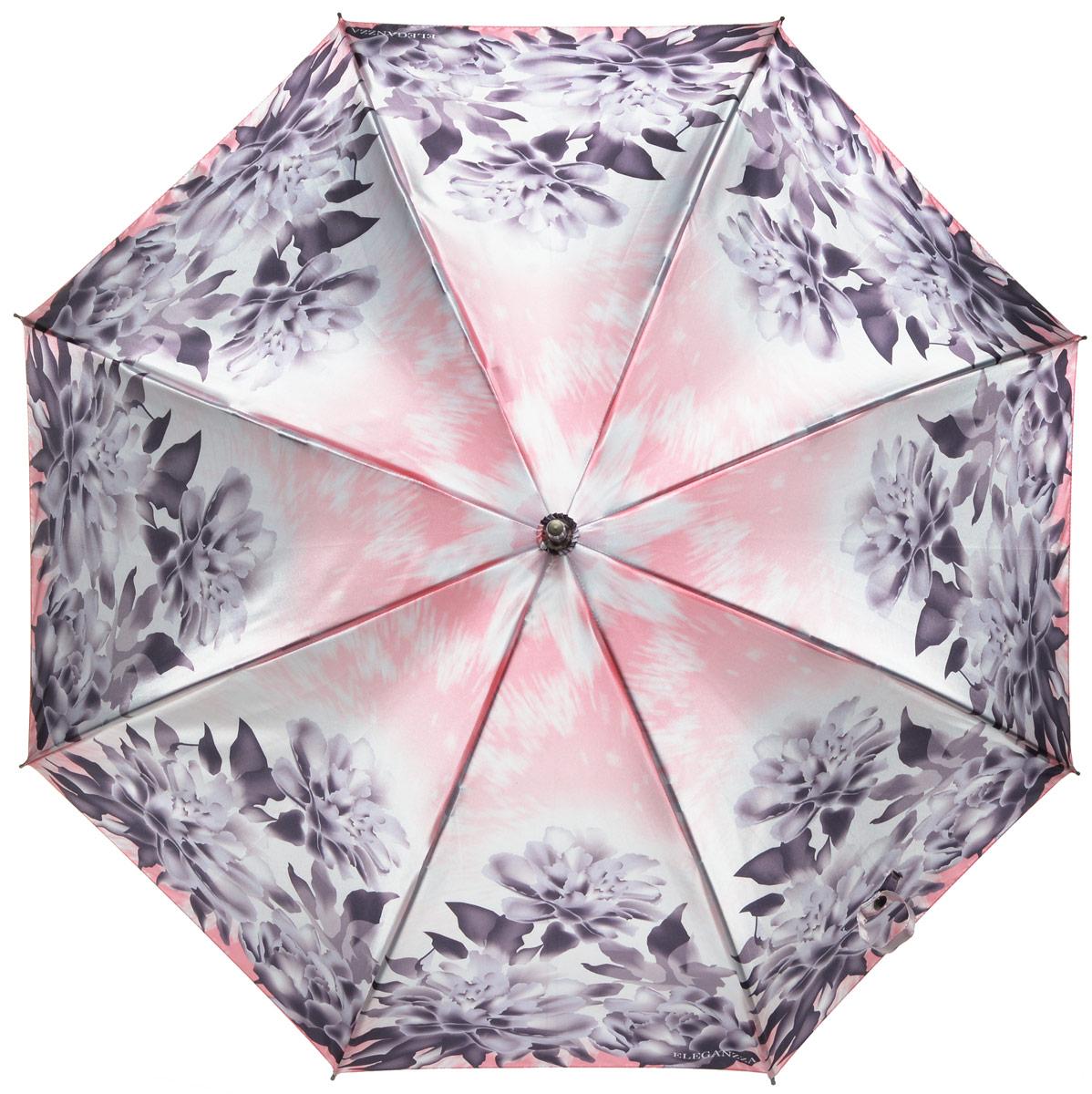Зонт-трость женский Eleganzza, механика, цвет: тауп, коралловый. T-06-0237T-06-0237Элегантный женский зонт-трость Eleganzza не оставит вас незамеченной. Изделие оформлено оригинальным принтом в виде цветов. Зонт состоит из восьми спиц и стержня, изготовленных из алюминия и фибергласса. Купол выполнен из качественного полиэстера и сатина, которые не пропускают воду. Зонт дополнен удобной ручкой из акрила, которая выполнена в виде бусин и имеет форму крючка. Также зонт имеет заостренный наконечник, который устраняет попадание воды на стержень и уберегает зонт от повреждений. Изделие имеет механический способ сложения: и купол, и стержень открываются и закрываются вручную до характерного щелчка. Зонт закрывается хлястиком на кнопку. Оригинальный и практичный аксессуар даже в ненастную погоду позволит вам оставаться женственной и привлекательной.