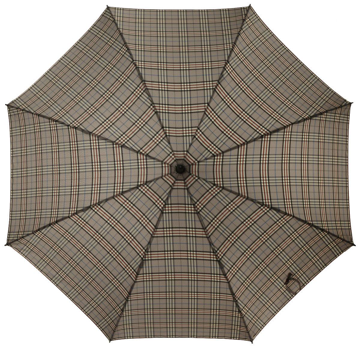 Зонт-трость мужской Eleganzza, полуавтомат, 3 сложения, цвет: светло-коричневый. T-05-YL27