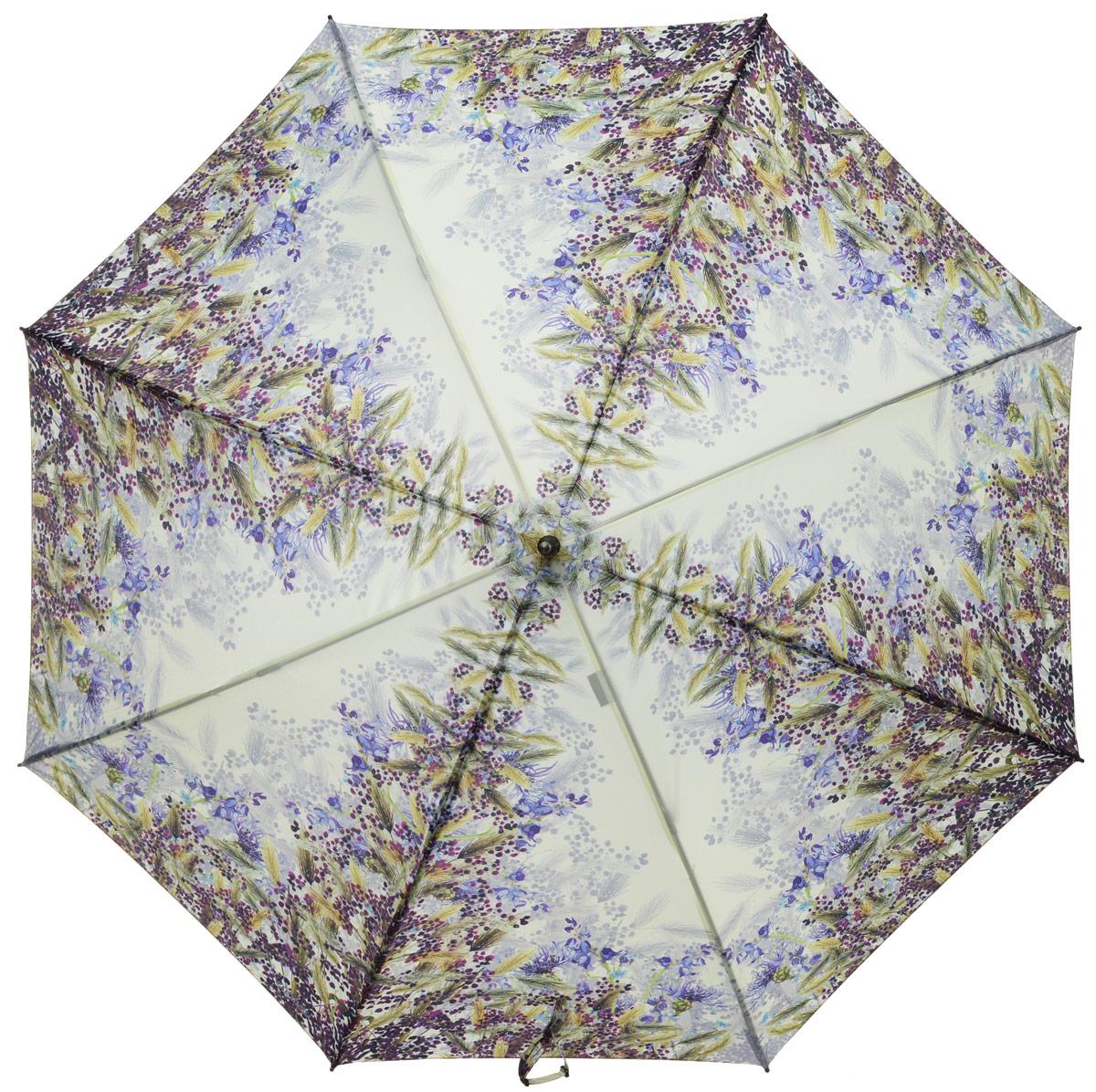 Зонт-трость женский Eleganzza, полуавтомат, 3 сложения, цвет: бежевый, зеленый, фиолетовый. T-06-0302T-06-0302Элегантный женский зонт-трость Eleganzza не оставит вас незамеченной. Изделие оформлено оригинальным принтом в виде цветов. Зонт состоит из восьми спиц и стержня, изготовленных из стали и фибергласса. Купол выполнен из качественного полиэстера и эпонжа, которые не пропускают воду. Зонт дополнен удобной ручкой из акрила, которая имеет форму крючка. Также зонт имеет заостренный наконечник, который устраняет попадание воды на стержень и уберегает зонт от повреждений. Изделие имеет полуавтоматический механизм сложения: купол открывается нажатием кнопки на ручке, а складывается вручную до характерного щелчка. Оригинальный и практичный аксессуар даже в ненастную погоду позволит вам оставаться женственной и привлекательной.
