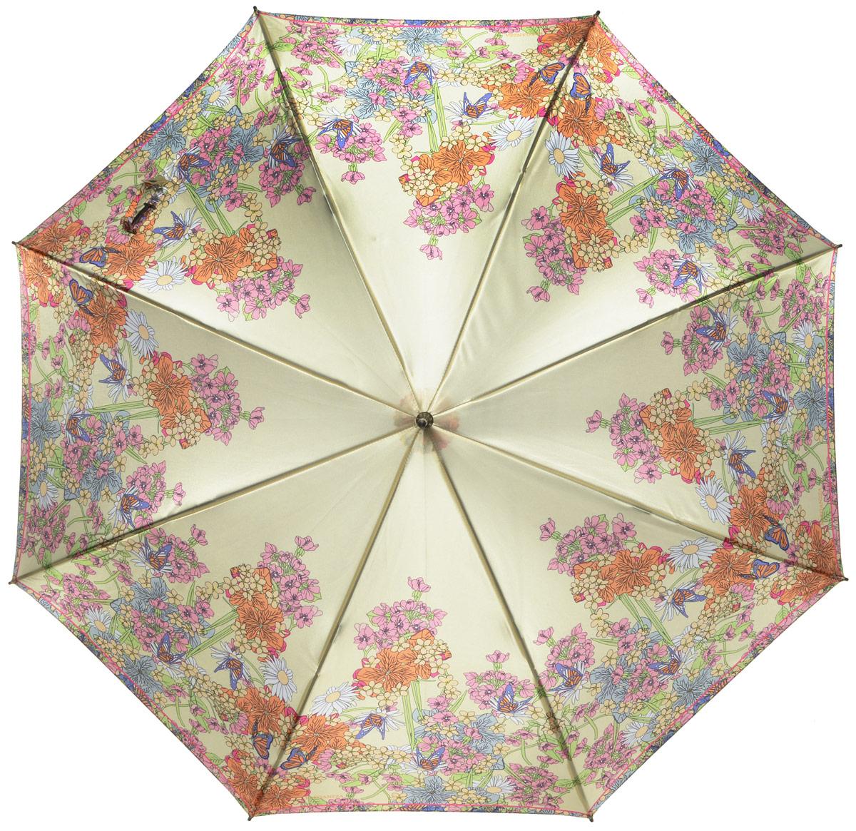 Зонт-трость женский Eleganzza, полуавтомат, 3 сложения, цвет: желтый, мультиколор. T-06-0301T-06-0301Элегантный женский зонт-трость Eleganzza не оставит вас незамеченной. Изделие оформлено оригинальным принтом в виде цветов. Зонт состоит из восьми спиц и стержня, изготовленных из стали и фибергласса. Купол выполнен из качественного полиэстера и сатина, которые не пропускают воду. Зонт дополнен удобной ручкой из акрила, которая имеет форму крючка. Также зонт имеет заостренный наконечник, который устраняет попадание воды на стержень и уберегает зонт от повреждений. Изделие имеет полуавтоматический механизм сложения: купол открывается нажатием кнопки на ручке, а складывается вручную до характерного щелчка. Оригинальный и практичный аксессуар даже в ненастную погоду позволит вам оставаться женственной и привлекательной.
