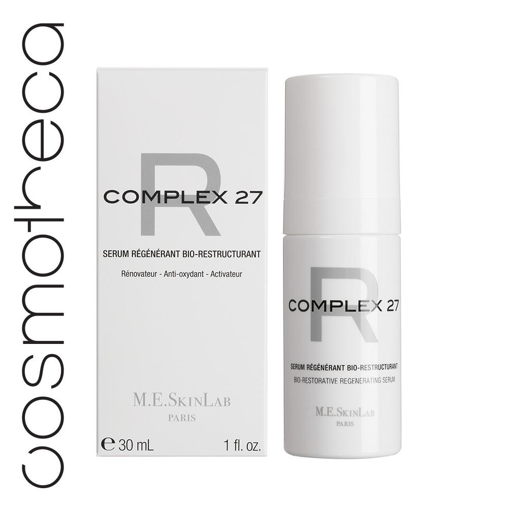 Cosmetics 27 Био-востанавливающая регенерирующая сыворотка Complex 27 R 30 млCM27012• Восстанавливает кожу, возвращает ей плотность • Обновляет и восстанавливает кожные ткани • Защищает от окисления и свободных радикалов • Стимулирует синтез коллагена и гликозаминогликанов • 52% концентрированных активов • 95% натуральных ингредиентов, без парабенов ИСПОЛЬЗОВАНИЕ • Потеря тонуса и упругости • На коже есть морщины, вызванные сухостью • Кожа испытывает дискомфорт, имеются особо сухие участки, покраснения РЕЗУЛЬТАТЫ: • Кожа снова в тонусе, сияющая и плотная • Кожа сбалансирована и вновь способна противостоять окислительному стрессу • Кожа более упругая и гладкая, морщин заметно меньше • Коже более комфортно, она выглядит здоровой на вид