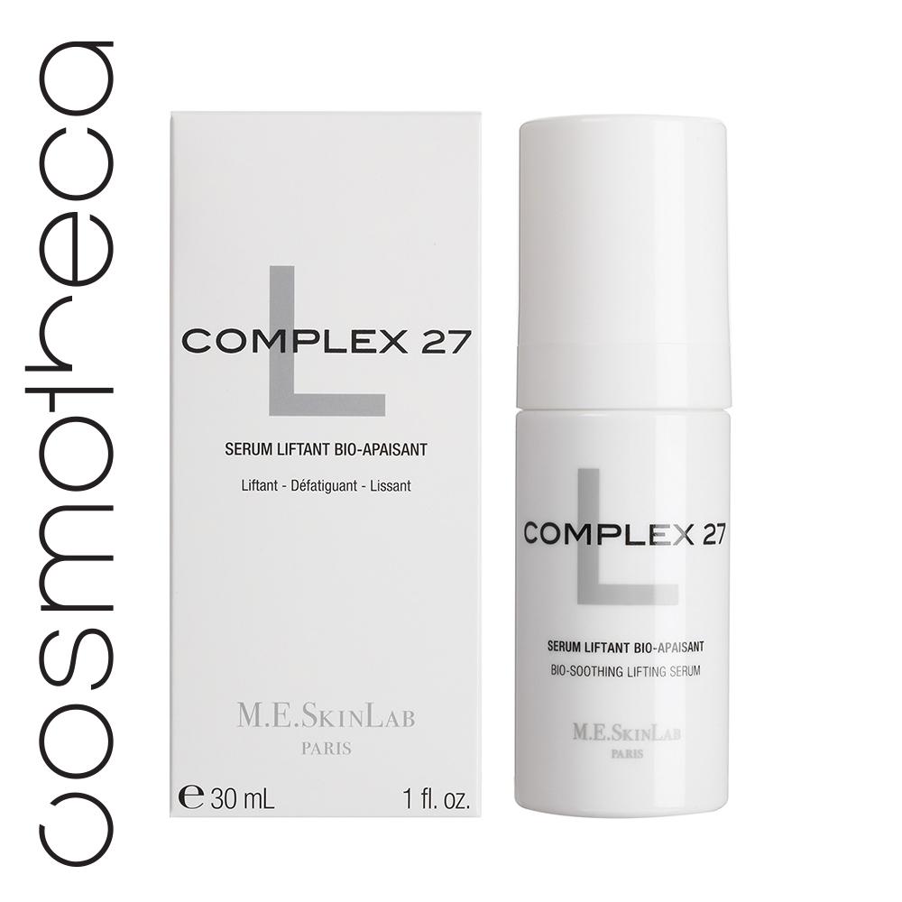 Cosmetics 27 Био-успокаивающая лифтинг сыворотка Complex 27 L 30 млCM27013• Успокаивает чувствительную и реактивную кожу. • Разглаживает кожу, более четкие черты лица • Лифтинг и возвращение объемов • Увлажнение, эластичность и сияние • 56% концентрированных активов ИСПОЛЬЗОВАНИЕ • Уставшая, дряблая кожа, подверженная стрессу • Небольшие раздражения, реактивность кожи, покраснения • Потеря тонуса, видимые морщины • После эстетического воздействия РЕЗУЛЬТАТЫ: • Кожа более упругая и мягкая, раздражение снято • Увлажненная и мягкая кожа, гладкая на вид, тонус возвращен, черты более четкие • Отсутствуют видимые признаки стресса