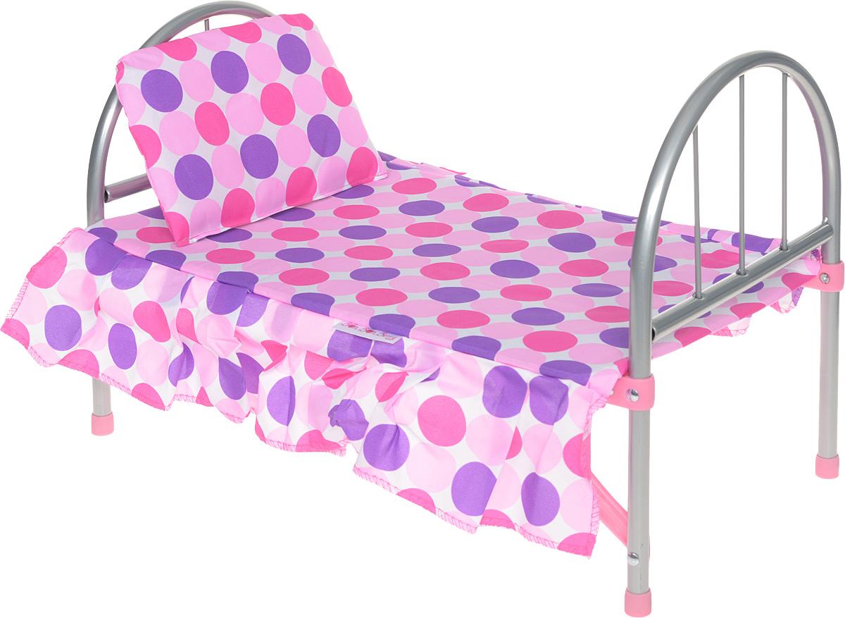 Bon Bon Berry Кроватка для кукол9342NЛегкая кроватка Bon Bon Berry создана для того, чтобы любимые игрушки вашей малышки сладко спали и видели сказочные сны. Каркас кроватки выполнен из металла с пластиковыми элементами. Спинка и ножки кроватки раскладываются и закрепляются с помощью фиксаторов. В сложенном виде кроватка не занимает много места, что удобно для ее хранения. В комплект с кроваткой входят основание и мягкая подушечка. Теперь ваша малышка сможет убаюкивать своих кукол в удобной детской кроватке. Порадуйте ее таким замечательным подарком!