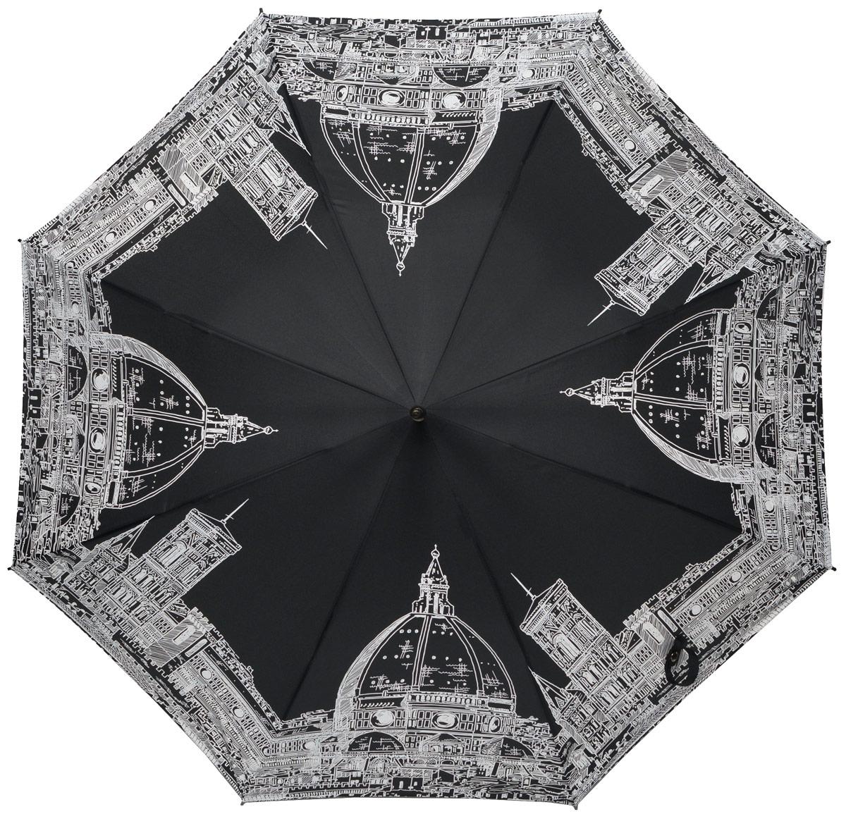 Зонт-трость женский Eleganzza, полуавтомат, 3 сложения, цвет: черный, белый. T-05-0200T-05-0200Элегантный женский зонт-трость Eleganzza не оставит вас незамеченной. Изделие оформлено оригинальным принтом. Зонт состоит из восьми спиц изготовленных из фибергласса и стержня из стали. Купол выполнен из качественного полиэстера и эпонжа, которые не пропускают воду. Зонт дополнен удобной ручкой из матового пластика, которая имеет форму крючка. Также зонт имеет заостренный наконечник, который устраняет попадание воды на стержень и уберегает зонт от повреждений. Зонт оснащен чехлом и удобным ремешком, благодаря которому зонт можно носить на плече. Изделие имеет полуавтоматический механизм сложения: купол открывается нажатием кнопки на ручке, а складывается вручную до характерного щелчка. Оригинальный и практичный аксессуар даже в ненастную погоду позволит вам оставаться женственной и привлекательной.