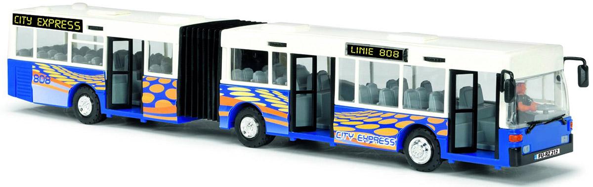 Dickie Toys Автобус-экспресс цвет белый синий3827000_белый, синийАвтобус-экспресс Dickie Toys привлечет внимание вашего ребенка и не позволит ему скучать. Игрушка является уменьшенной копией настоящего автобуса с гибкой гармошкой. Автобус оснащен открывающимися с помощью колесиков дверьми, сменным табло с названием остановок и прорезиненными колесами. Внутри салона расположены ряды пассажирских кресел. Остается только подобрать фигурки, подходящие по размеру, и можно отправляться в увлекательное путешествие! Ваш ребенок увлеченно будет играть с автобусом, воспроизводя различные истории из городской жизни. Порадуйте его таким замечательным подарком!