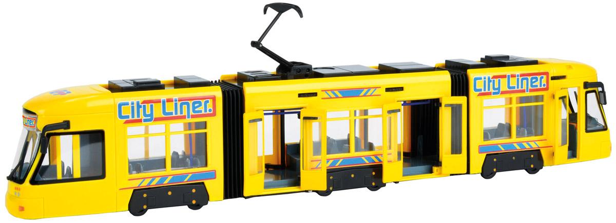 Dickie Toys Трамвай City Liner цвет желтый3829000_желтыйГородской трамвай Dickie Toys City Liner привлечет внимание вашего ребенка и не позволит ему скучать. Игрушка является уменьшенной копией настоящего трамвая с гибкой гармошкой. Трамвай оснащен открывающимися с помощью колесиков дверьми, поднимающимся полупантографом и колесами со свободным ходом. Внутри салона расположены ряды пассажирских кресел. Остается только подобрать фигурки, подходящие по размеру, - и можно отправляться в увлекательное путешествие! Ваш ребенок будет часами играть с трамваем, воспроизводя различные истории из городской жизни. Порадуйте его таким замечательным подарком!