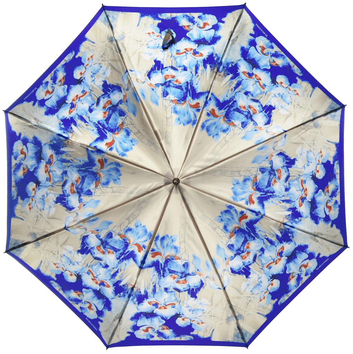 Зонт-трость женский Eleganzza, полуавтомат, 3 сложения, цвет: синий, бежевый. T-06-0303T-06-0303Элегантный женский зонт-трость Eleganzza не оставит вас незамеченной. Изделие оформлено оригинальным принтом в виде цветов. Зонт состоит из восьми спиц и стержня, изготовленных из стали и фибергласса. Купол выполнен из качественного полиэстера и сатина, которые не пропускают воду. Зонт дополнен удобной ручкой из акрила, которая имеет форму крючка. Также зонт имеет заостренный наконечник, который устраняет попадание воды на стержень и уберегает зонт от повреждений. Изделие имеет полуавтоматический механизм сложения: купол открывается нажатием кнопки на ручке, а складывается вручную до характерного щелчка. Оригинальный и практичный аксессуар даже в ненастную погоду позволит вам оставаться женственной и привлекательной.