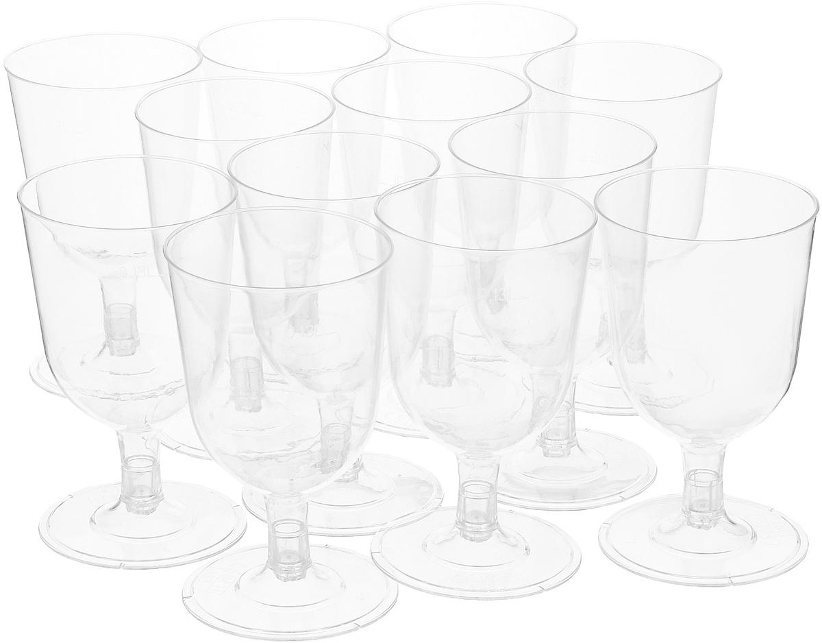 Набор одноразовых бокалов для вина Duni, цвет: прозрачный, 130 мл, 12 шт156412Набор Duni состоит из 12 бокалов, выполненных из высококачественного пластика и предназначенных для одноразового использования. Такие бокалы идеально подойдут для подачи вина, а также для других холодных напитков. Одноразовые бокалы будут незаменимы при поездках на природу, пикниках и других мероприятиях. Благодаря съемному основанию, их можно компактно сложить. Бокалы не займут много места и самое главное - после использования их не надо мыть. Диаметр бокала (по верхнему краю): 6,5 см. Высота бокала: 11,3 см.