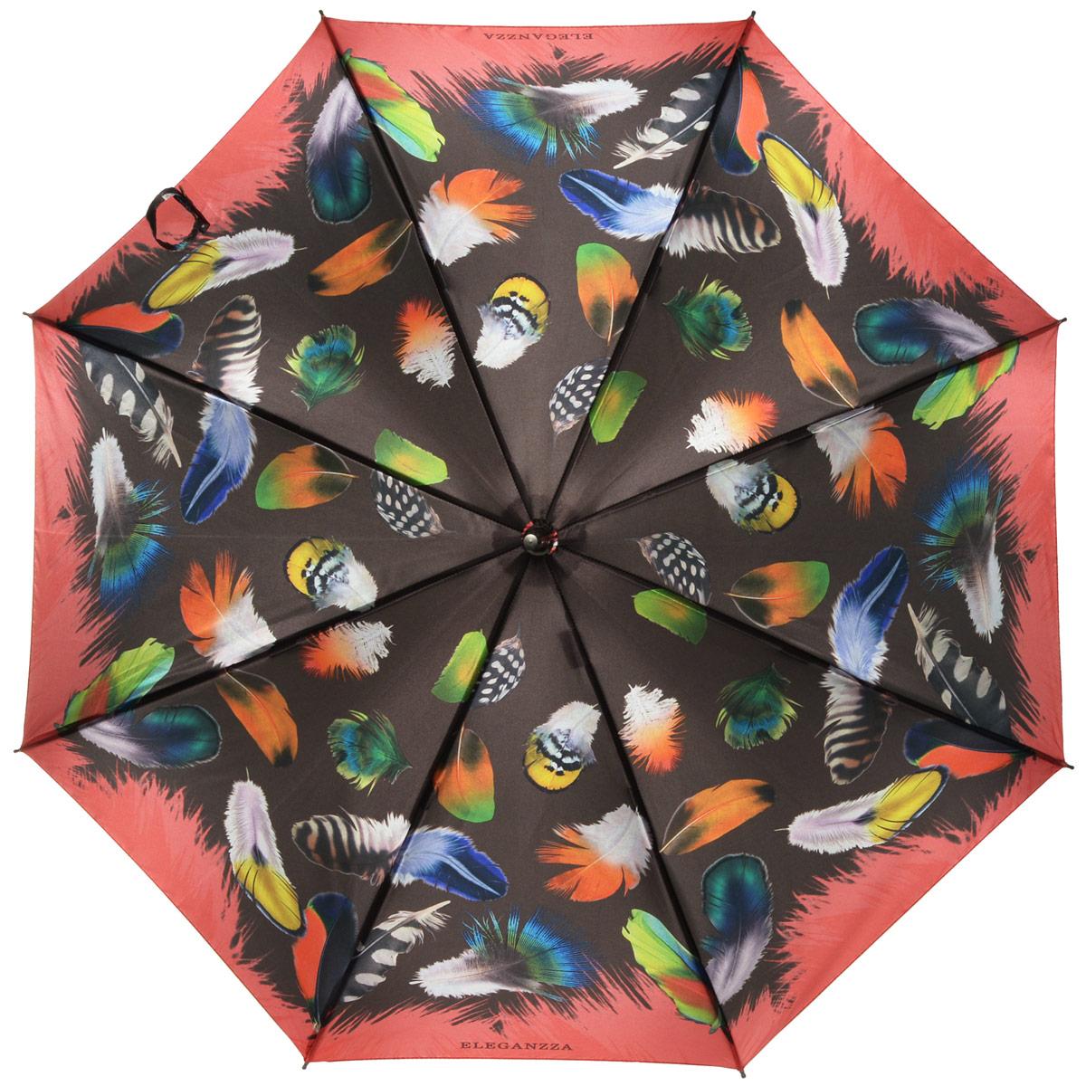Зонт-трость женский Eleganzza, механика, цвет: коричневый, мультиколор. T-06-0244T-06-0244Элегантный женский зонт-трость Eleganzza не оставит вас незамеченной. Изделие оформлено оригинальным принтом в виде цветов. Зонт состоит из восьми спиц и стержня, изготовленных из алюминия и фибергласса. Купол выполнен из качественного полиэстера и сатина, которые не пропускают воду. Зонт дополнен удобной ручкой из акрила, которая выполнена в виде бусин и имеет форму крючка. Также зонт имеет заостренный наконечник, который устраняет попадание воды на стержень и уберегает зонт от повреждений. Изделие имеет механический способ сложения: и купол, и стержень открываются и закрываются вручную до характерного щелчка. Зонт закрывается хлястиком на кнопку. Оригинальный и практичный аксессуар даже в ненастную погоду позволит вам оставаться женственной и привлекательной.