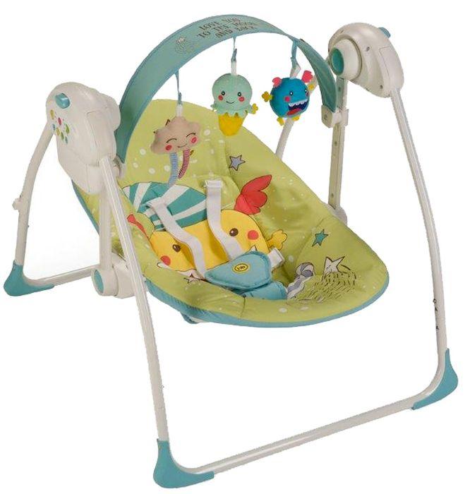 Happy Baby Электрокачели Jolly Green4650069782582Вашему вниманию представляются кресло-качели Jolly из коллекции MONSTER. Качели, напоминающие малышу среду, в которой он находился до рождения, помогут ему быстрее адаптироваться к внешнему миру, а также станут отличным помощником матери в уходе за ребенком. В качельках Jolly малышу будет уютно, тепло, безопасно и весело. Таймер на 10, 20 и 30 минут даст матери время для решения насущных бытовых вопросов. Три скорости укачивания позволят подобрать оптимальный вариант в зависимости от того, спит малыш или бодрствует. Восемь мелодий с возможностью регулировки громкости и съемная регулируемая дуга с игрушками не дадут ребенку скучать. Работают качели от батареек (тип С, 4 штуки) или от сети через адаптер.