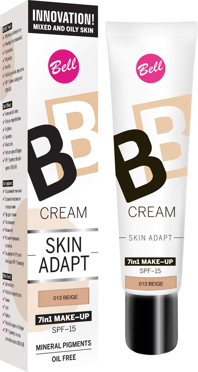 Bell Флюид для создания идеально ровного и совершенного макияжа BB Cream Skin Adapt 7in1 30 грBflBB013Флюид BB Cream сочетает в себе особенности тонального флюида и увлажняющего крема. BB cream идеально выравнивает тон Вашей кожи, скрывает мелкие неровности и покраснения. Новый флюид придает сияние коже и устраняет признаки усталости. Защищает от вредного воздействия UV лучей благодаря SPF-15 фильтру. Тон 13