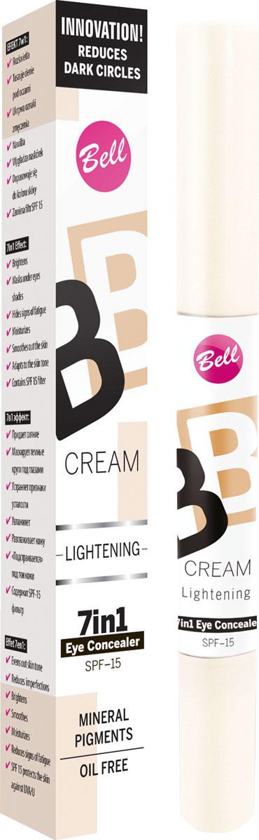 """Bell Корректор светоотражающий Bb Cream Lightenning Тон 11, 4 грBkoBB011В состав корректора входят специальные увлажняющие компоненты, благодаря которым кожа становится более эластичной и увлажненной. Модифицирован кремнезем создает эффект """"Soft Focus"""" – зрительно минимизурующий несовершенства кожи. Корректор содержит фильтр SPF 15, обеспечивающий полную защиту чувствительной и тонкой кожи вокруг глаз. Тон 11"""