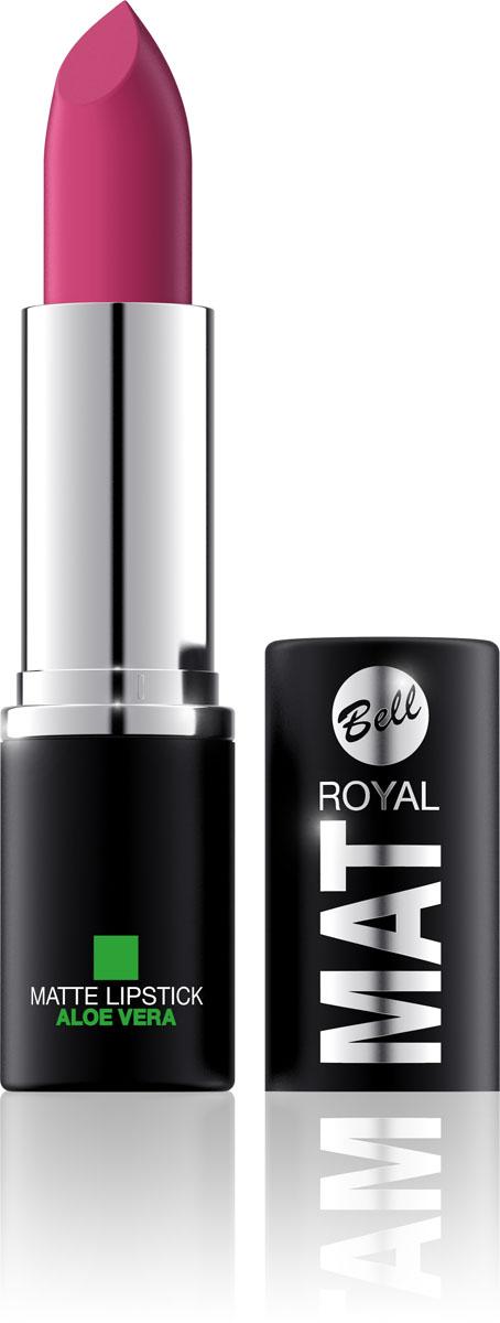 Bell Помада губная Матовая С Алоэ Вера Royal Mat Lipstick 4 грBpomRM003Помада создает матовую поверхность и максимальную насыщенность цвета. Аппликация помады является исключительно нежной и легкой, создавая при этом матовый эффект. Формула, содержащая регенерирующие компоненты алоэ дополнительно питает и ухаживает за губами. Благодаря высокому содержанию пигментов и стойкой формуле, помада держится на губах долгое время. Тон 3