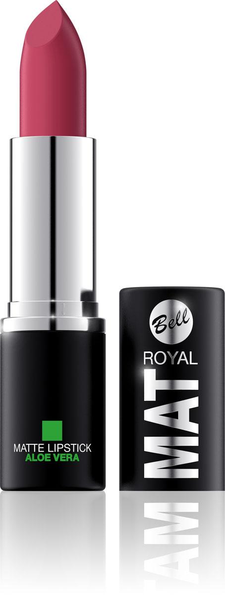 Bell Помада губная Матовая С Алоэ Вера Royal Mat Lipstick 4 грBpomRM004Помада создает матовую поверхность и максимальную насыщенность цвета. Аппликация помады является исключительно нежной и легкой, создавая при этом матовый эффект. Формула, содержащая регенерирующие компоненты алоэ дополнительно питает и ухаживает за губами. Благодаря высокому содержанию пигментов и стойкой формуле, помада держится на губах долгое время. Тон 4