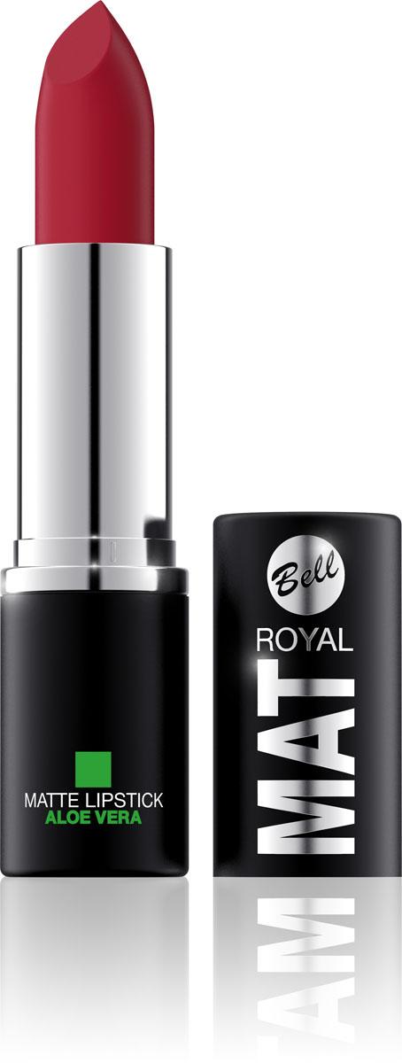 Bell Помада губная Матовая С Алоэ Вера Royal Mat Lipstick Тон 25, 4 грBpomRM025Помада создает матовую поверхность и максимальную насыщенность цвета. Аппликация помады является исключительно нежной и легкой, создавая при этом матовый эффект. Формула, содержащая регенерирующие компоненты алоэ дополнительно питает и ухаживает за губами. Благодаря высокому содержанию пигментов и стойкой формуле, помада держится на губах долгое время. Тон 25