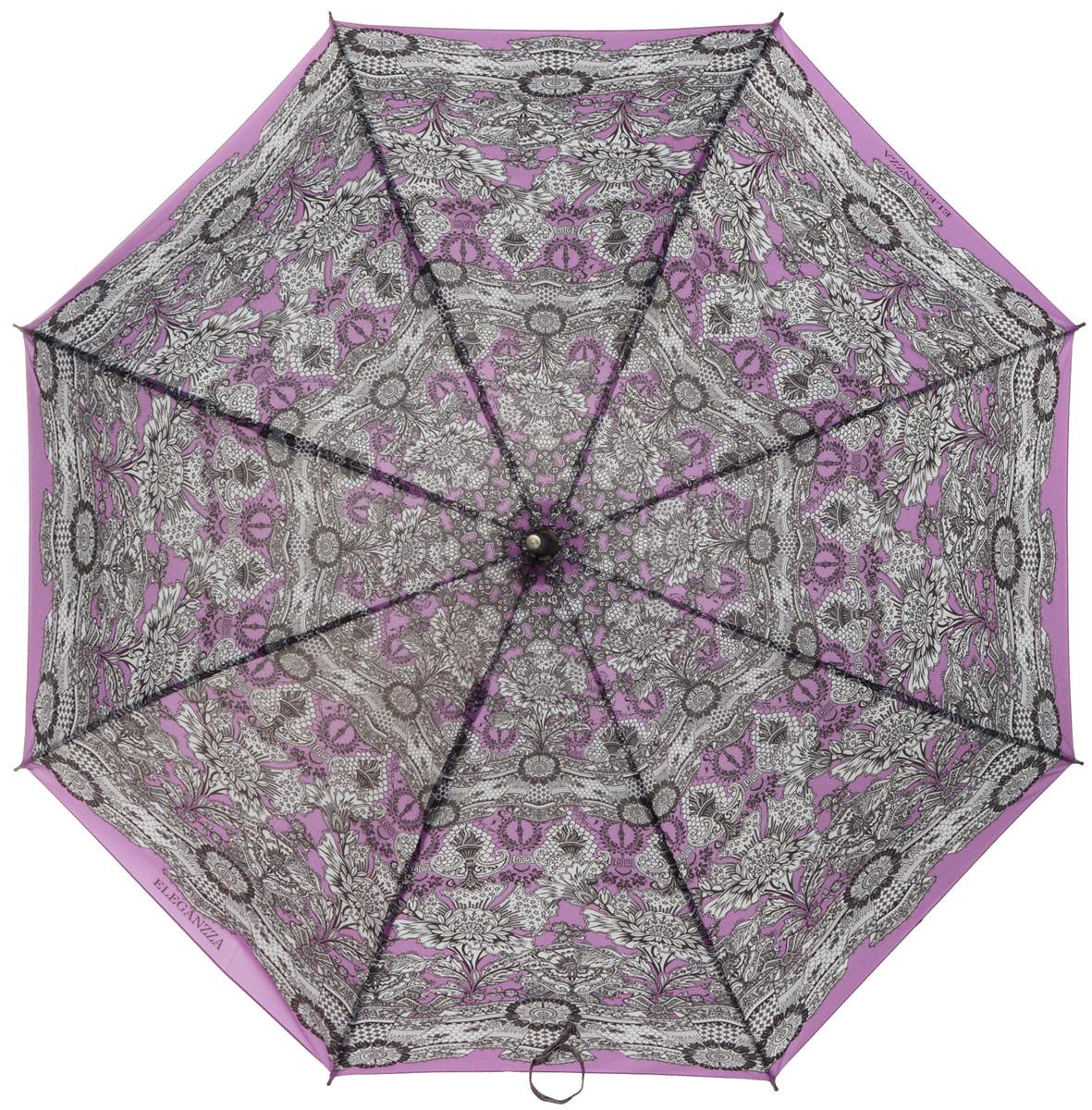 Зонт-трость женский Eleganzza, механика, цвет: фиолетовый, белый, черный. T-06-0215T-06-0215Элегантный женский зонт-трость Eleganzza не оставит вас незамеченной. Изделие оформлено оригинальным принтом в виде узоров. Зонт состоит из восьми спиц и стержня, изготовленных из алюминия и фибергласса. Купол выполнен из качественного полиэстера и эпонжа, которые не пропускают воду. Зонт дополнен удобной ручкой из акрила, которая выполнена в виде бусин и имеет форму крючка. Также зонт имеет заостренный наконечник, который устраняет попадание воды на стержень и уберегает зонт от повреждений. Изделие имеет механический способ сложения: и купол, и стержень открываются и закрываются вручную до характерного щелчка. Зонт закрывается хлястиком на кнопку. Оригинальный и практичный аксессуар даже в ненастную погоду позволит вам оставаться женственной и привлекательной.
