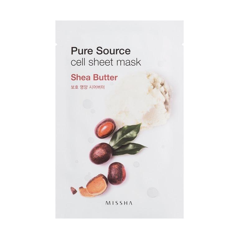 Missha Маска для лица листовая с маслом ши Pure Source Cell Sheet Mask (Shea Butter)МШ5180Экстракт масла ши благодаря своим увлажняющим компонентам хорошо питает и образует на коже барьер, удерживающий влагу внутри. Вес: 21 гр.