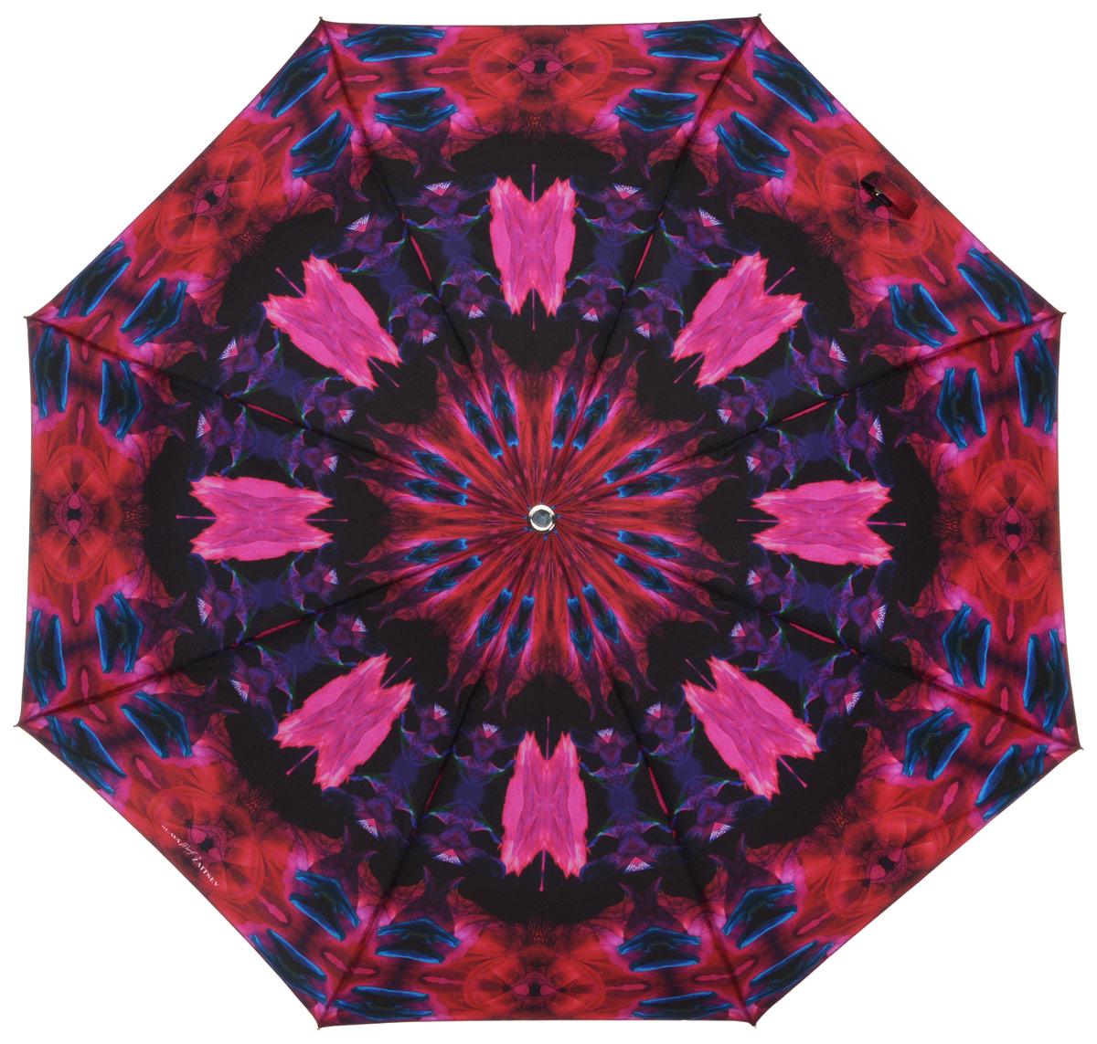 Зонт женский Slava Zaitsev, автомат, 3 сложения, цвет: ярко-розовый, фиолетовый. fksq 048/1048/1 midi SZДизайнерский женский зонт от Славы Зайцева не оставит вас без внимания. Зонт оформлен оригинальной художественной печатью. Купол зонта выполнен из качественного полиэстера, который не позволит вам намокнуть. Спицы и стержень выполнены из алюминия с элементами пластика. Зонт дополнен удобной пластиковой ручкой, которая дополнена петлей, благодаря которой зонт можно носить на запястье. На ручке вставка с названием бренда. Зонт имеет автоматический механизм сложения: купол открывается и закрывается нажатием кнопки на ручке, стержень складывается вручную до характерного щелчка, благодаря чему открыть и закрыть зонт можно одной рукой. К зонту прилагается чехол. Стильный и практичный аксессуар даже в ненастную погоду позволит вам оставаться яркой и неотразимой.