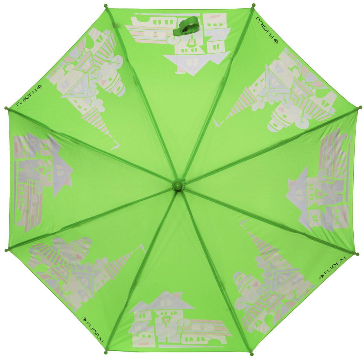 Зонт-трость детский Flioraj, механика, цвет: зеленый. 051206051206 FJОригинальный и практичный детский зонт-трость Flioraj будет отличным подарком для вашего ребенка. Зонт состоит из восьми спиц и стержня выполненных из прочного, но легкого фибергласса. Купол выполнен из качественного полиэстера, который не пропускает воду и оформлен красочным рисунком. Зонт дополнен удобной пластиковой ручкой в виде крючка. Изделие имеет механический способ сложения: и купол, и стержень открываются и закрываются вручную до характерного щелчка. Зонт закрывается хлястиком на кнопку. Зонт дополнен свистком. Такой интересный дизайн понравится любой девочке.