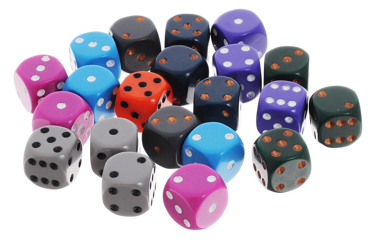Pandoras Box Набор кубиков для настольных игр цвет серый фиолетовый голубой 21 шт02CX125_серый, фиолетовый, голубойНабор игральных кубиков Pandoras Box предназначен для настольных игр. Набор состоит из 21 шестигранного кубика. На каждую сторону игральных кубиков нанесены в виде точек числа от 1 до 6. Целью броска кубика является демонстрация случайно определенного числа, каждое из которых является равновозможным благодаря правильной геометрической форме. Игральные кубики выполнены из прочного пластика.