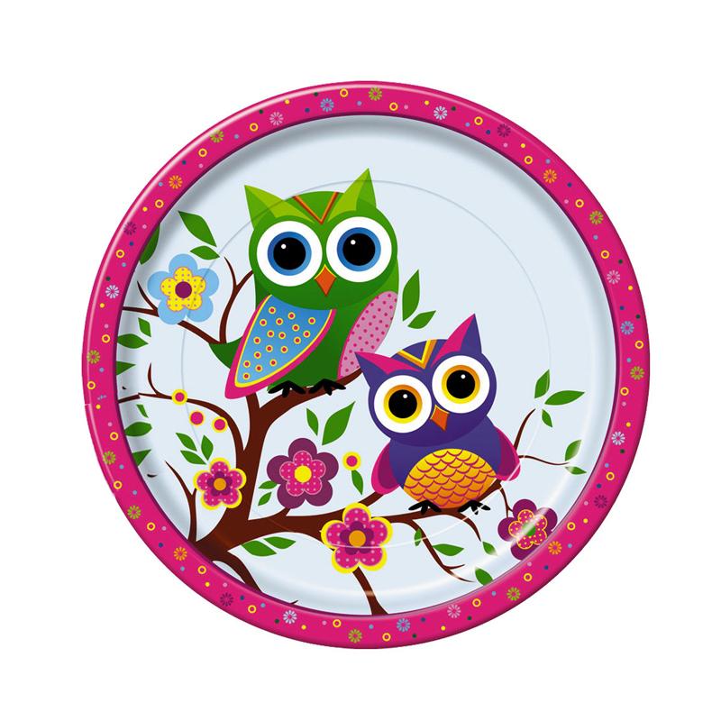 Набор одноразовых тарелок Bulgaree Green Совы, диаметр 23 см, 10 шт3037Набор одноразовых десертных тарелок из картона с ярким принтом подойдет для сервировки стола на любой праздник. Тарелка покрыта тонким, в несколько микрон, слоем полиэтилена. Рисунок яркий и четкий.