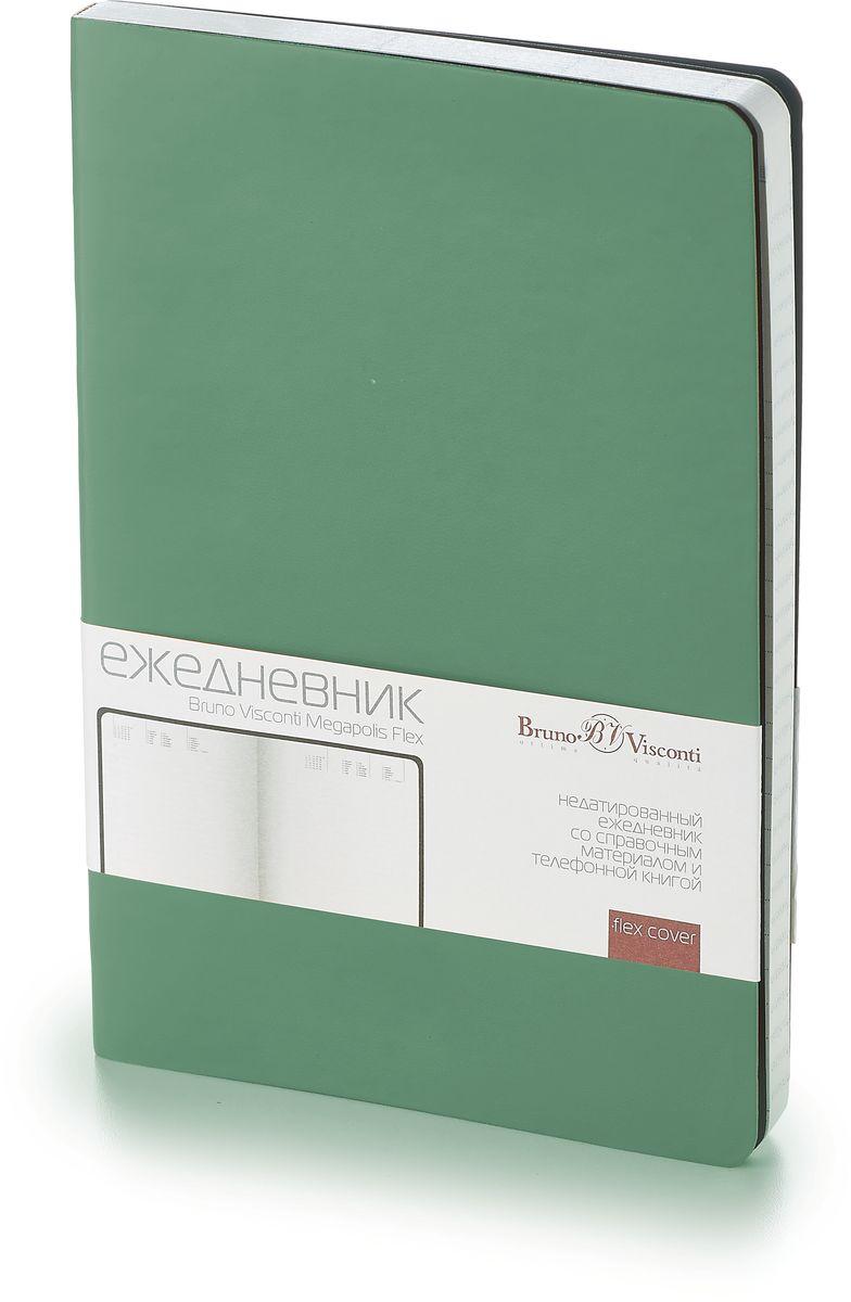 Bruno Visconti Ежедневник Megapolis Flex недатированный 136 листов цвет зеленый