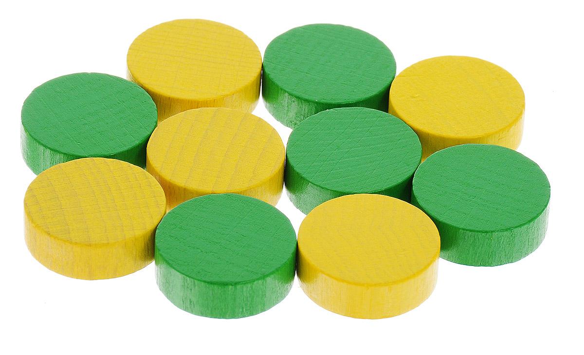 Pandoras Box Набор фишек Эко-стиль диаметр 21 мм цвет желтый зеленый 10 шт06LZ026_зеленый, желтыйНабор фишек Pandoras Box Эко-стиль предназначен для настольных игр. Фишки можно использовать для отметки уровня ресурсов жизни, победных очков при игре в настольные игры. В набор входят фишки желтого и зеленого цветов. Фишки выполнены из натурального дерева и покрыты яркой краской. Набор содержит 10 фишек диаметром 2,1 см.