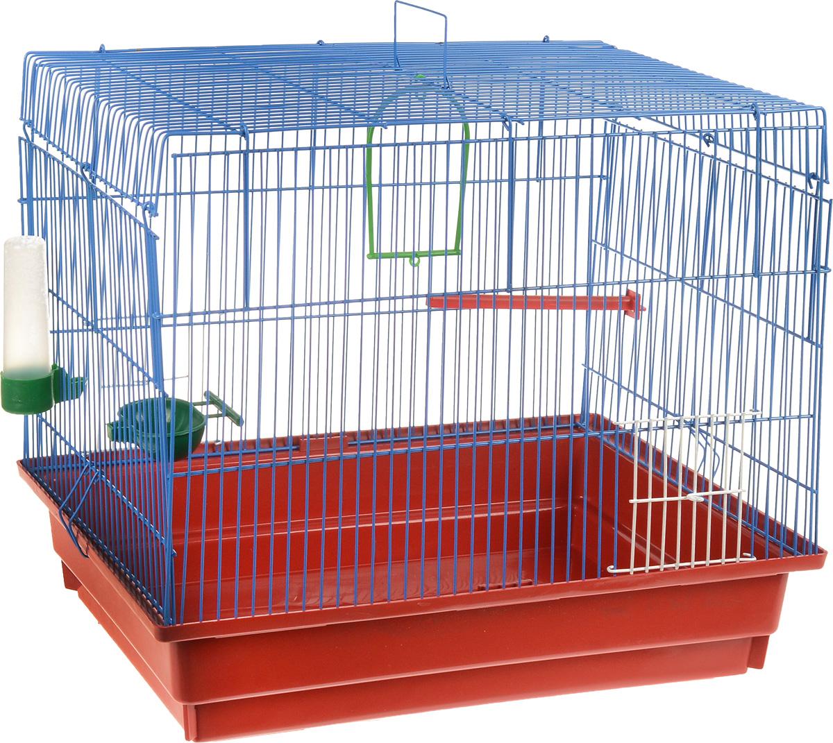 Клетка для птиц ЗооМарк, цвет: красный поддон, синяя решетка, 50 х 31 х 41 см470_красный, синийКлетка ЗооМарк, выполненная из полипропилена и металла с эмалированным покрытием, предназначена для птиц. Изделие состоит из большого поддона и решетки. Клетка снабжена металлической дверцей. Она удобна в использовании и легко чистится. Клетка оснащена жердочкой, кольцом для птицы, поилкой, кормушкой и подвижной ручкой для удобной переноски. Комплектация: - клетка с поддоном, - поилка; - кормушка; - кольцо.