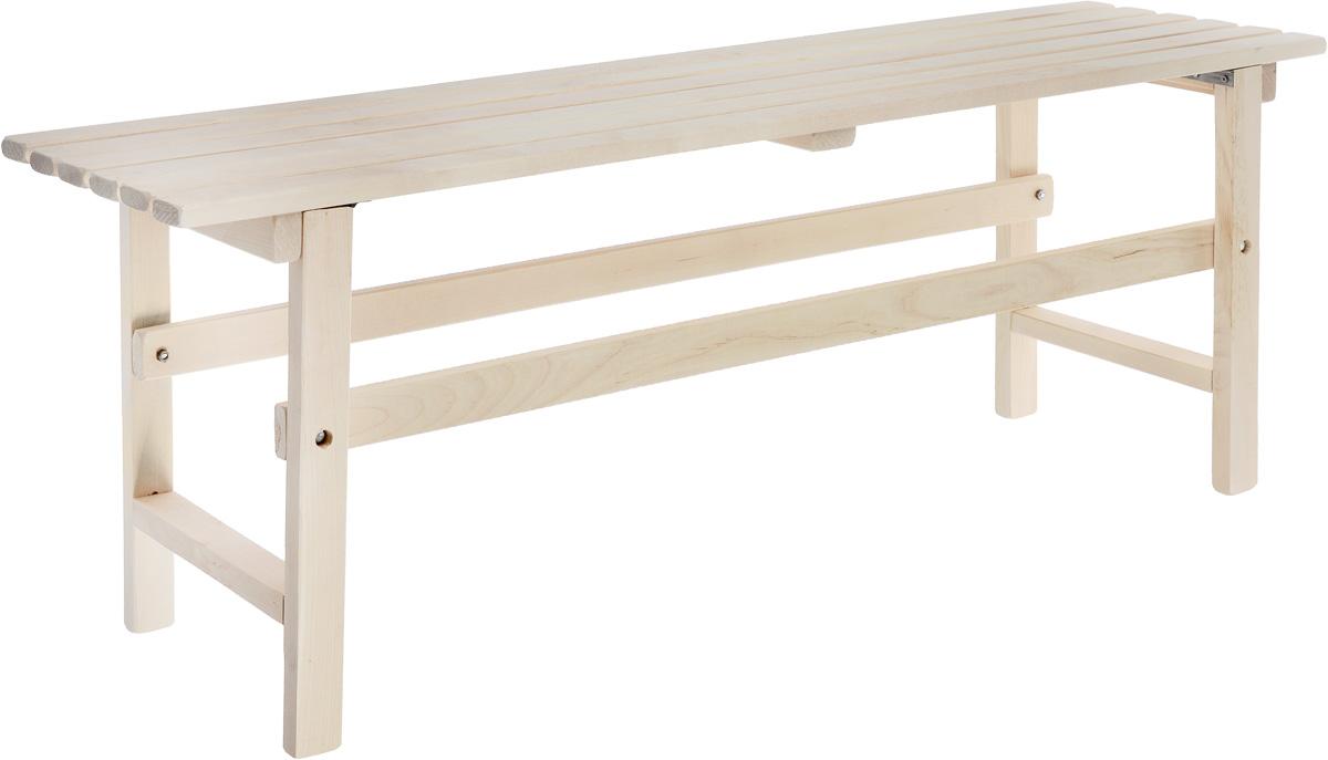 Скамейка Wildman, 120 х 32 х 45 см81-610Скамейка Wildman, выполненная из натурального дерева, идеально подойдет для благоустройства дачного или садового участка, прекрасно впишется в интерьер дома, бани или сауны. Длинное место для сидения позволяет разместить несколько человек. За счет складных ножек, скамейку легко транспортировать.