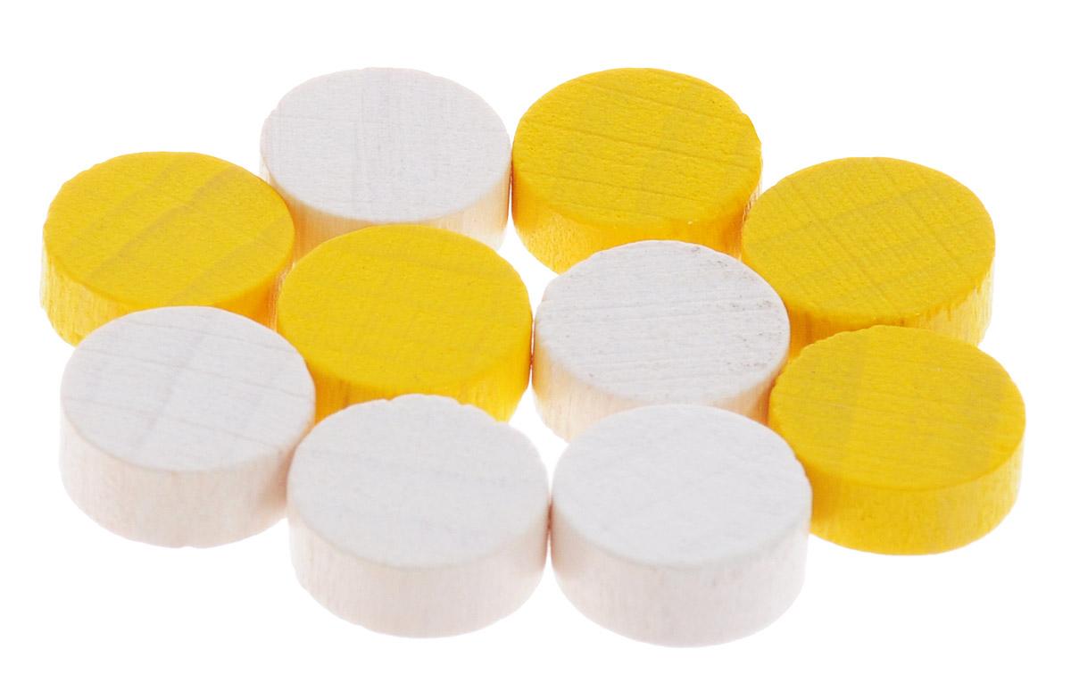Pandoras Box Набор фишек Эко-стиль диаметр 10 мм цвет белый желтый 10 шт06LZ020_белый, желтыйНабор фишек Pandoras Box Эко-стиль предназначен для настольных игр. Фишки можно использовать для отметки уровня ресурсов жизни, победных очков при игре в настольные игры. В набор входят фишки белого и желтого цветов. Фишки выполнены из натурального дерева и покрыты яркой краской. Набор содержит 10 фишек диаметром 1 см.