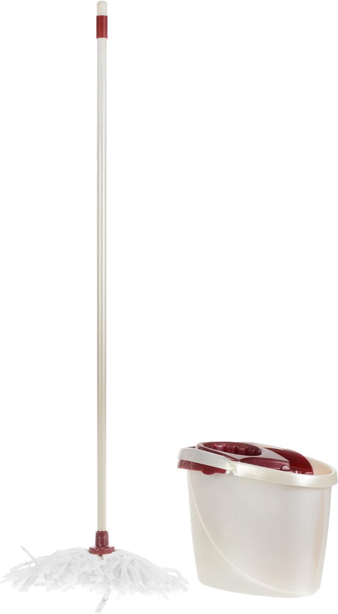 Набор для уборки York Гэлэкси, цвет: белый, бордовый, 3 предмета8909_белыйНабор для уборки York Гэлэкси состоит из ведра с отжимом, черенка и лепестковой насадки для швабры. Он предназначен для уборки любых типов напольных покрытий, включая паркет и ламинат. Специальная структура микроволокна лепестковой насадки убирает даже сильные, затвердевшие загрязнения, не оставляя разводов и эффективно впитывает влагу. Благодаря специальному ведру со встроенным отжимом, уборка станет быстрой и гигиеничной, так как вы сможете выжимать швабру в предназначенном для этого ведре, не пачкая руки. Такой набор сделает уборку легкой и обеспечит идеальную чистоту вашего пола без разводов и царапин. Размер ведра (по верхнему краю): 36 х 23 см. Высота стенки ведра: 28 см. Объем ведра: 12 л. Длина черенка: 118 см. Диаметр черенка: 2,2 см. Длина волокон лепестковой насадки: 22 см. Диаметр отверстия для черенка: 2,3 см.