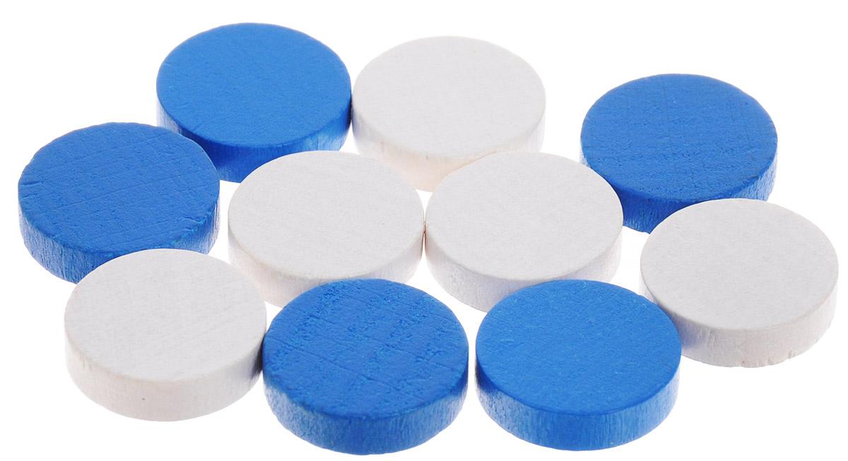Pandoras Box Набор фишек Эко-стиль диаметр 15 мм цвет белый синий 10 шт06LZ021_белый, синийНабор фишек Pandoras Box Эко-стиль предназначен для настольных игр. Фишки можно использовать для отметки уровня ресурсов жизни, победных очков при игре в настольные игры. В набор входят фишки белого и синего цветов. Фишки выполнены из натурального дерева и покрыты яркой краской. Набор содержит 10 фишек диаметром 1,5 см.