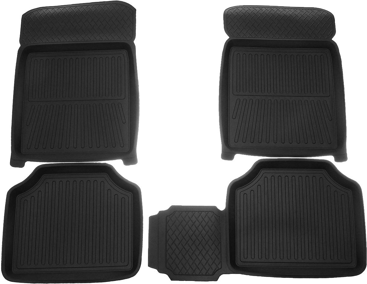 Коврики в салон автомобиля Protex, для Lada 2104, 2105, 2107, с перемычкой, 4 шт122060011Автомобильные коврики Protex полностью повторяют геометрию салона автомобиля. Изделия оснащены перемычкой, предотвращающими загрязнение тоннеля карданного вала. При изготовлении автомобильных ковриков используются только первичные материалы, в результате чего отсутствует неприятный запах в салоне автомобиля. Рисунок, нанесенный на поверхность ковриков, затрудняет перемещение жидкости, а высокий борт препятствует переливу жидкости и грязи из поддона на чистый салон автомобиля.