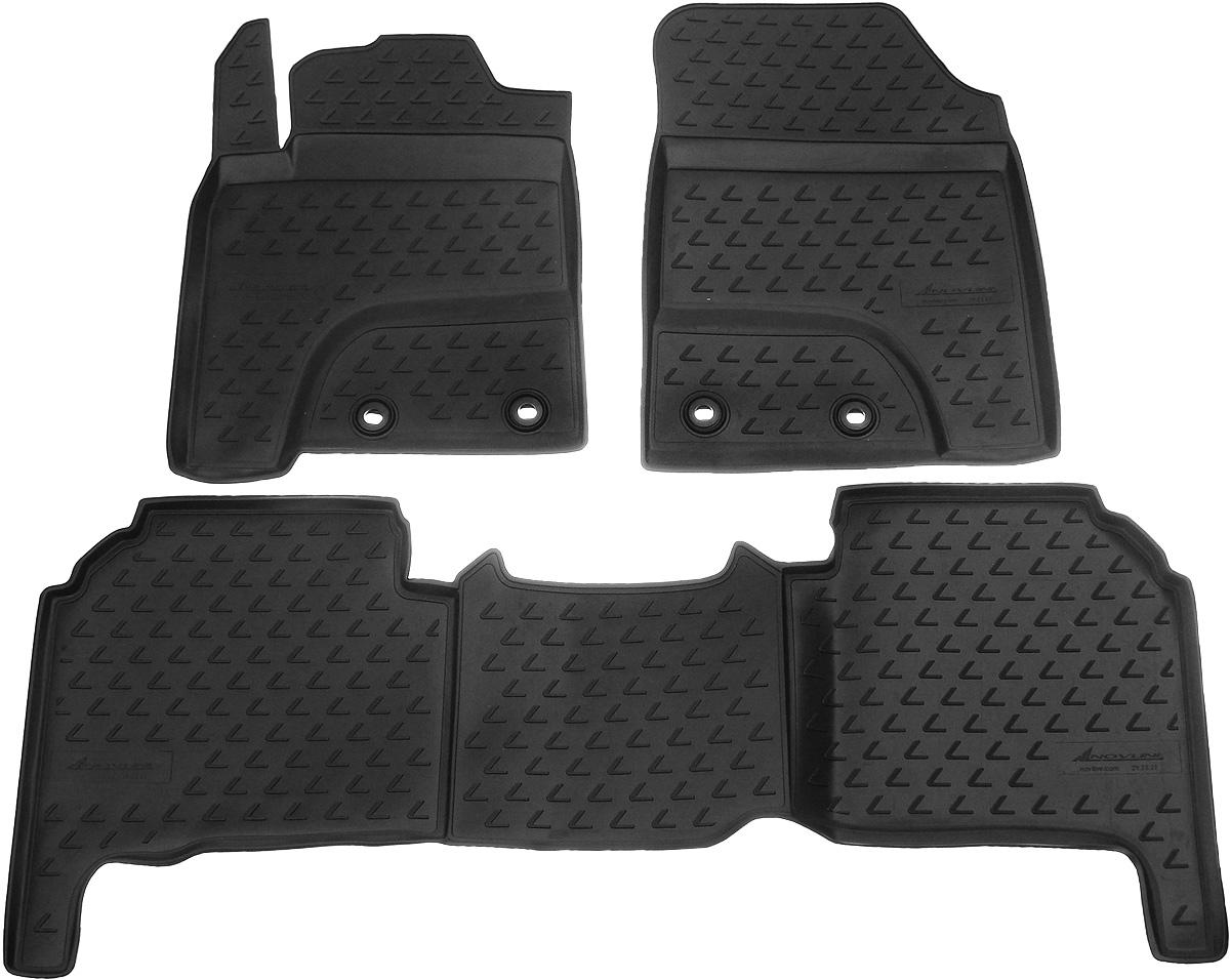 Коврики в салон автомобиля Novline-Autofamily, для Lexus LX570 2012-> 5 мест, 3 штNLC.29.20.210kКоврики в салон Novline-Autofamily не только улучшат внешний вид салона вашего автомобиля, но и надежно уберегут его от пыли, грязи и сырости, а значит, защитят кузов от коррозии. Полиуретановые коврики для автомобиля гладкие, приятные и не пропускают влагу. Автомобильные коврики в салон учитывают все особенности каждой модели и полностью повторяют контуры пола. Благодаря этому их не нужно будет подгибать или обрезать. И самое главное - они не будут мешать педалям. Полиуретановые автомобильные коврики для салона произведены из высококачественного материала, который держит форму и не пачкает обувь. К тому же, этот материал очень прочный (его, к примеру, не получится проткнуть каблуком). Некоторые автоковрики становятся источником неприятного запаха в автомобиле. С полиуретановыми ковриками Novline-Autofamily вы можете этого не бояться. Коврики для автомобилей надежно крепятся на полу и не скользят, что очень важно во время движения, особенно для водителя. ...