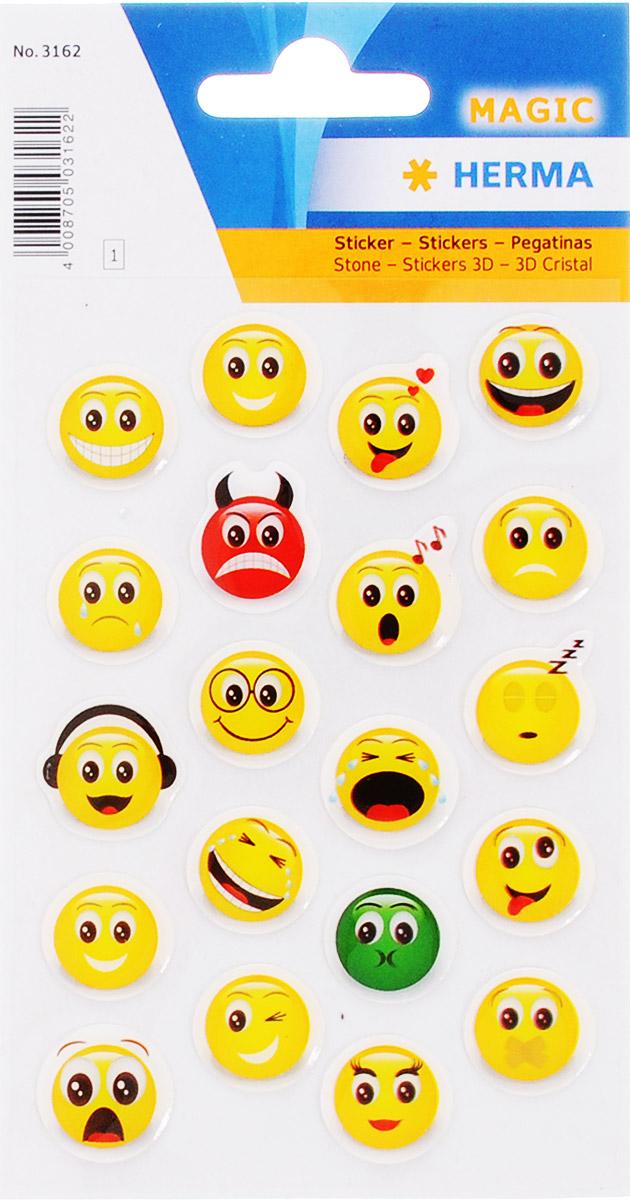 Herma Наклейки Веселый смайл 20 шт3162Яркие, красочные наклейки из гибкого и прочного силикона Herma Веселый смайл обязательно привлекут внимание вашего ребенка. Ими можно оформить альбомы, конверты, поздравительные открытки. Забавные смайлы подарят вам и вашему ребенку веселое настроение. Клей не вызывает аллергии.